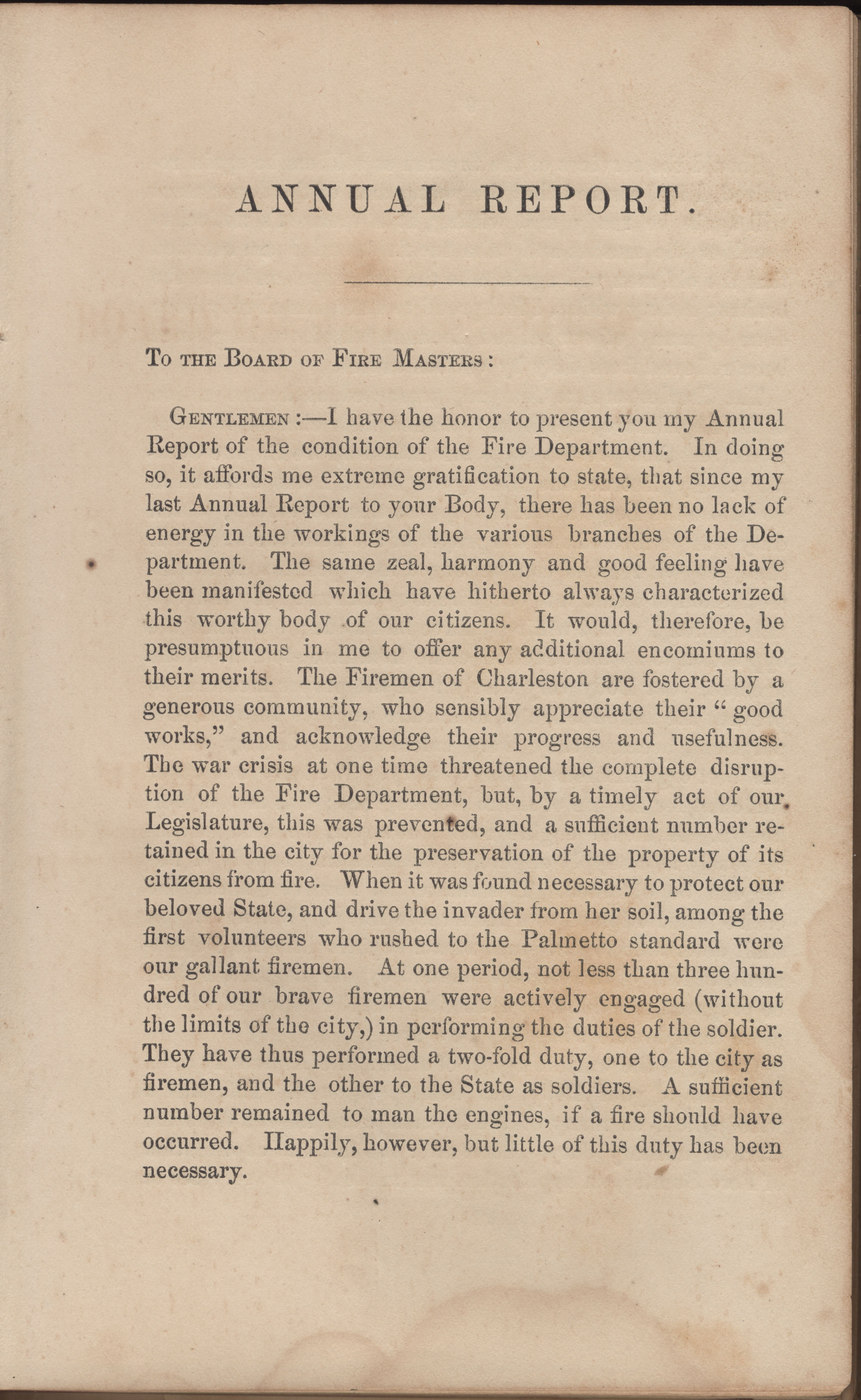 Annual Report of the Chief of the Fire Department of the City of Charleston, page 66