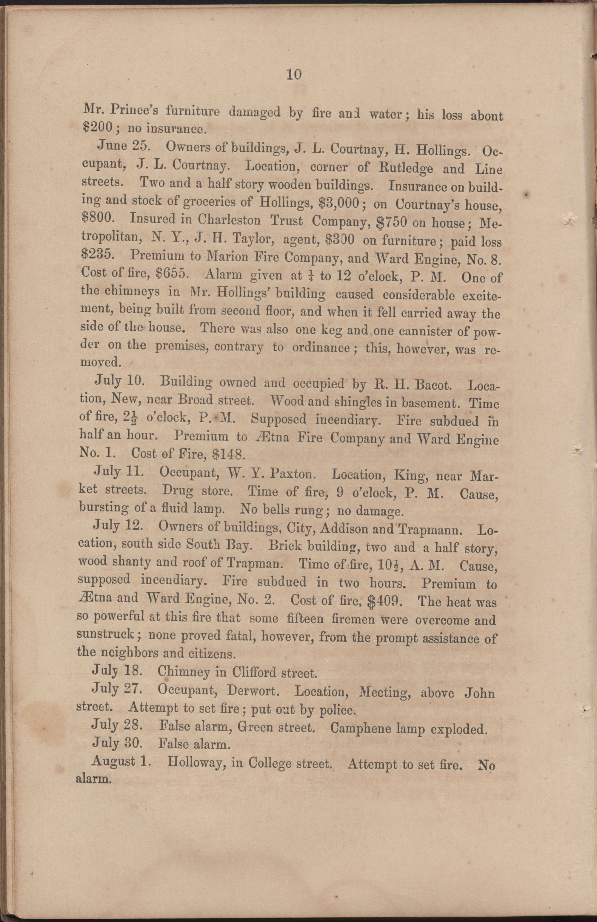 Annual Report of the Chief of the Fire Department of the City of Charleston, page 71
