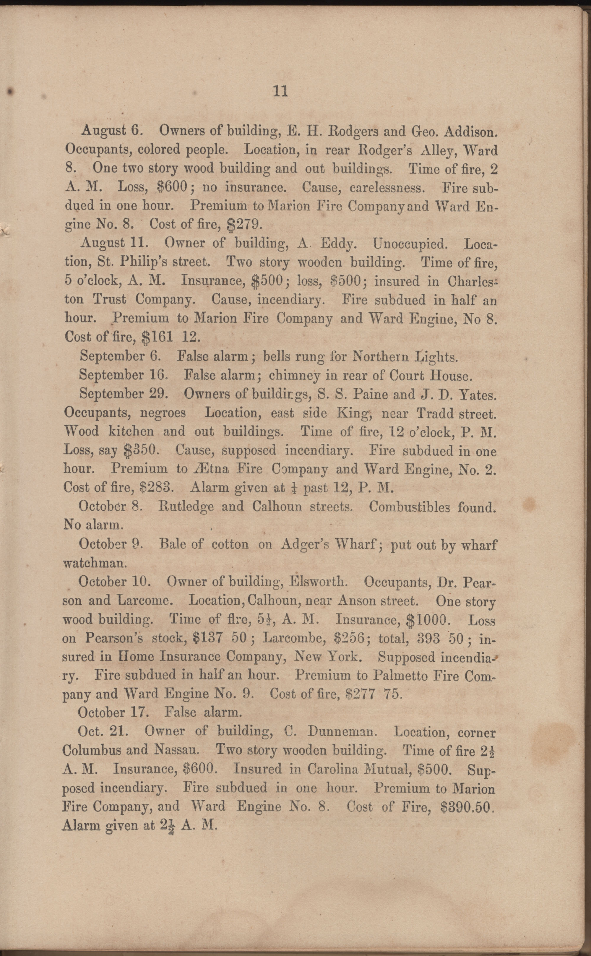Annual Report of the Chief of the Fire Department of the City of Charleston, page 72