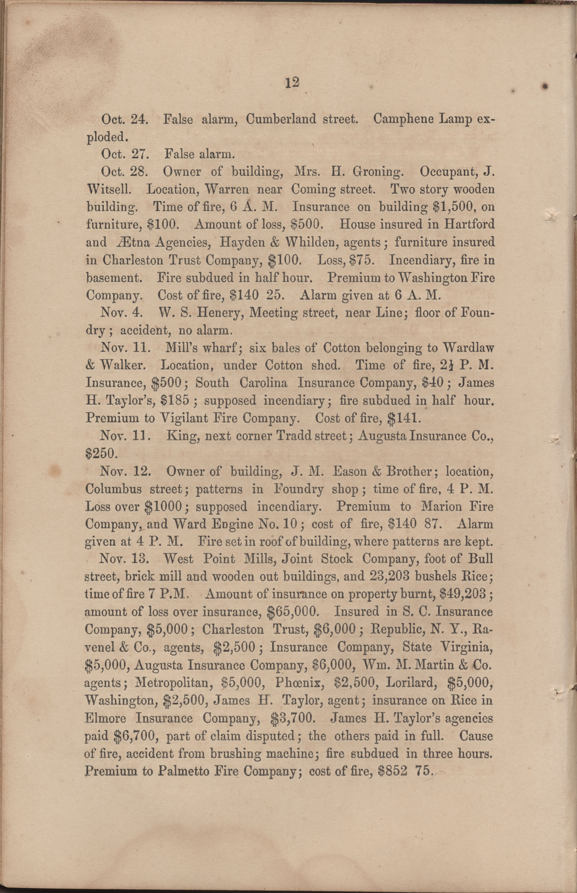 Annual Report of the Chief of the Fire Department of the City of Charleston, page 73