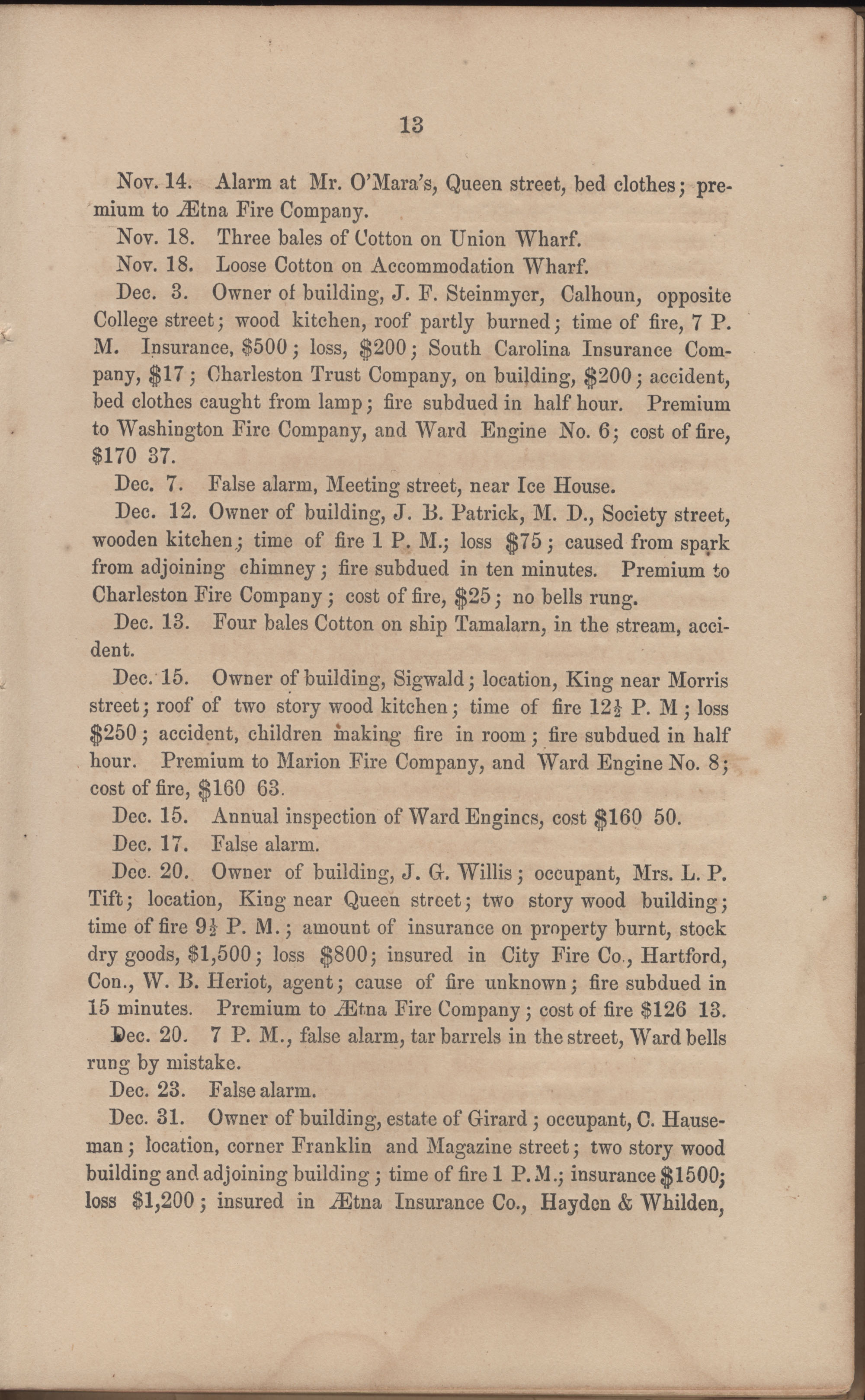 Annual Report of the Chief of the Fire Department of the City of Charleston, page 74