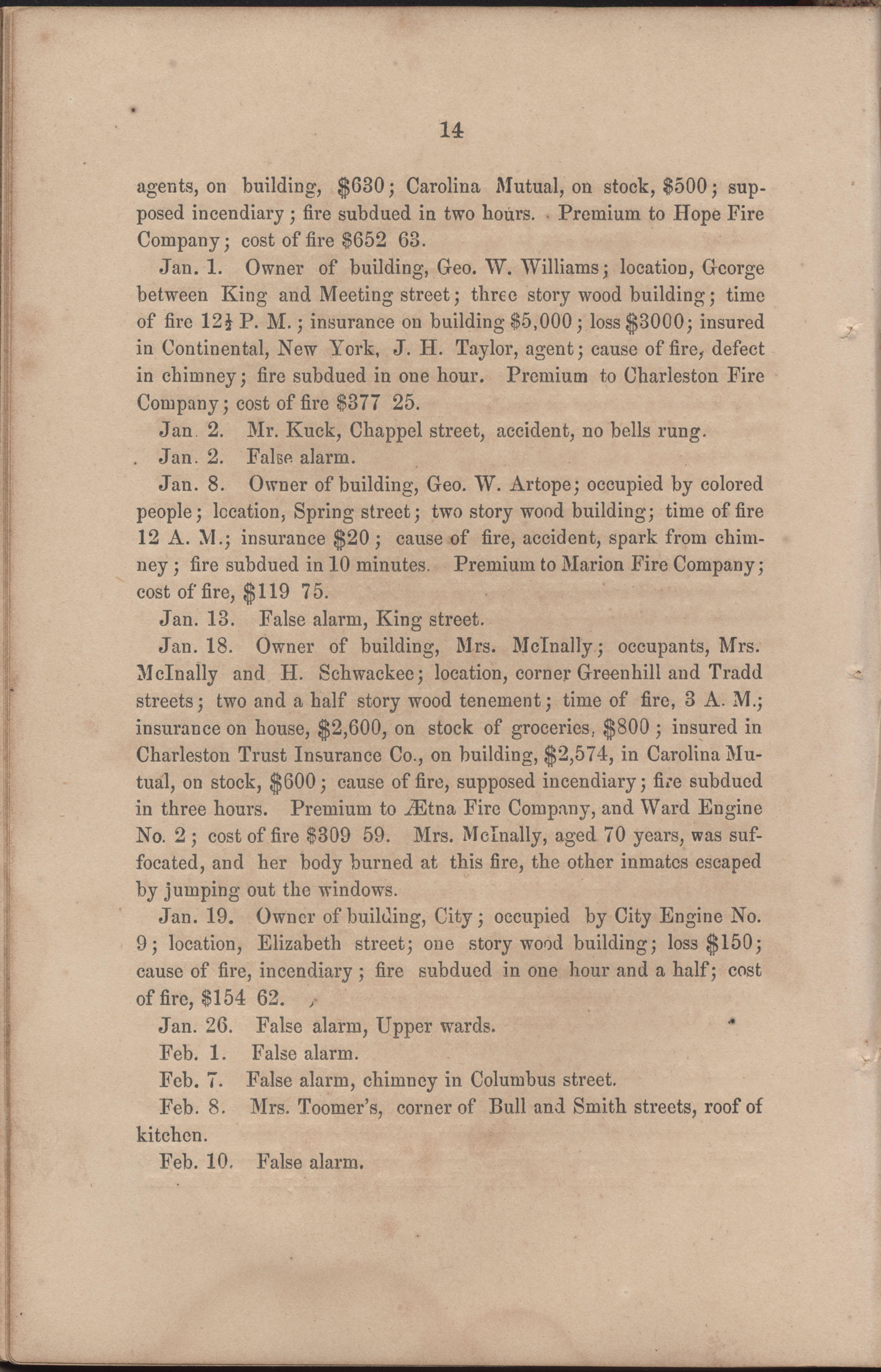 Annual Report of the Chief of the Fire Department of the City of Charleston, page 75