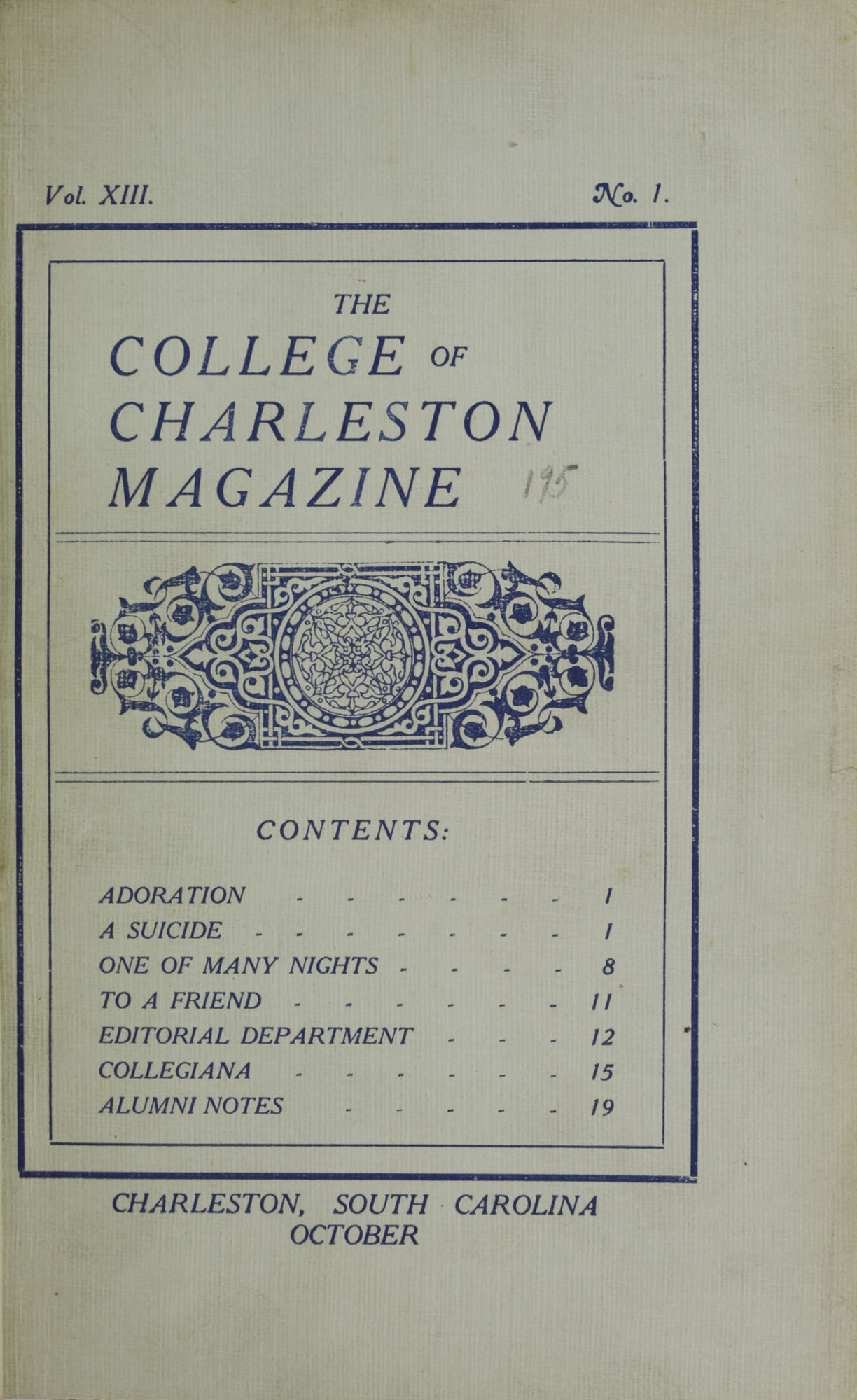 College of Charleston Magazine, 1909-1910