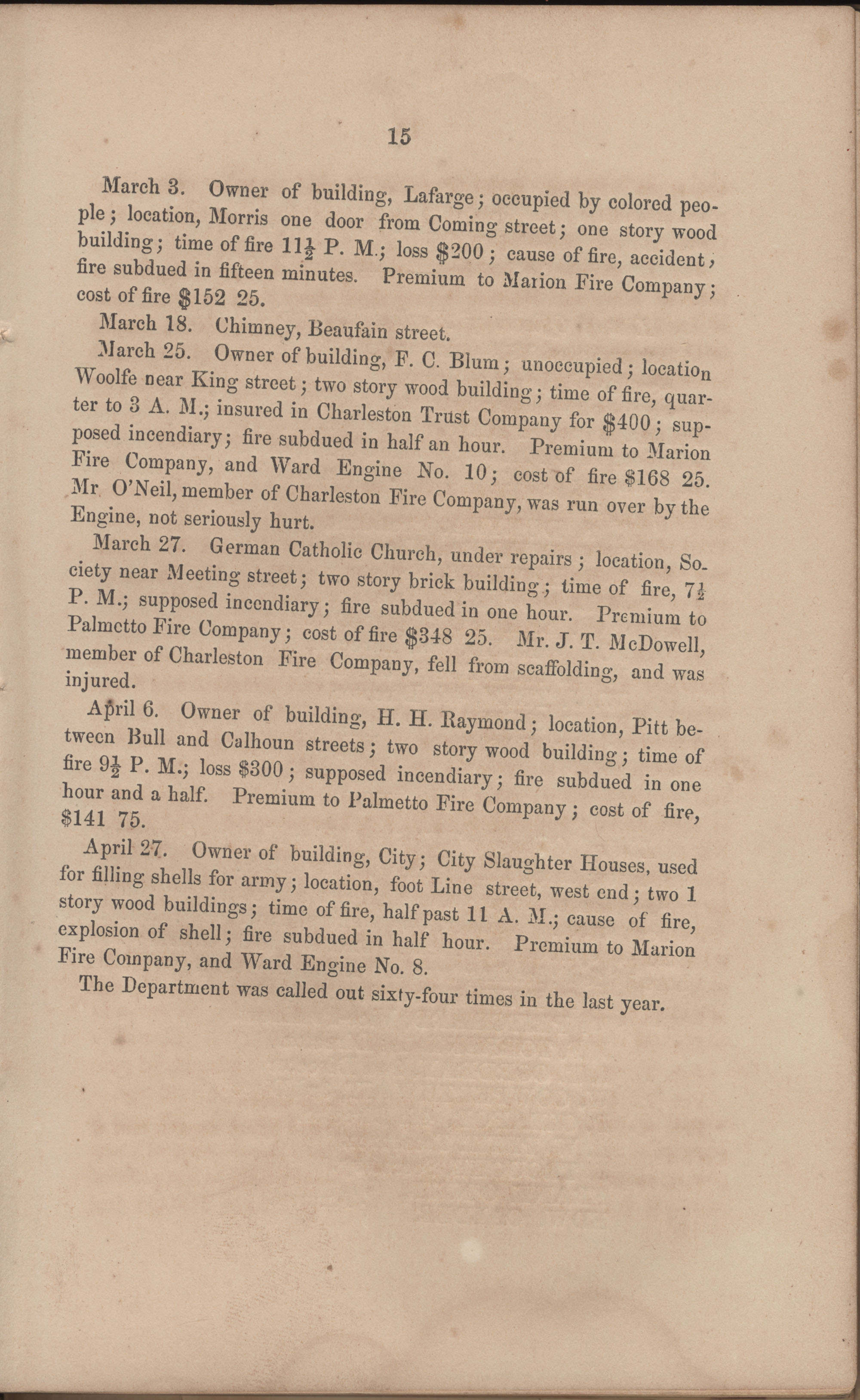 Annual Report of the Chief of the Fire Department of the City of Charleston, page 76