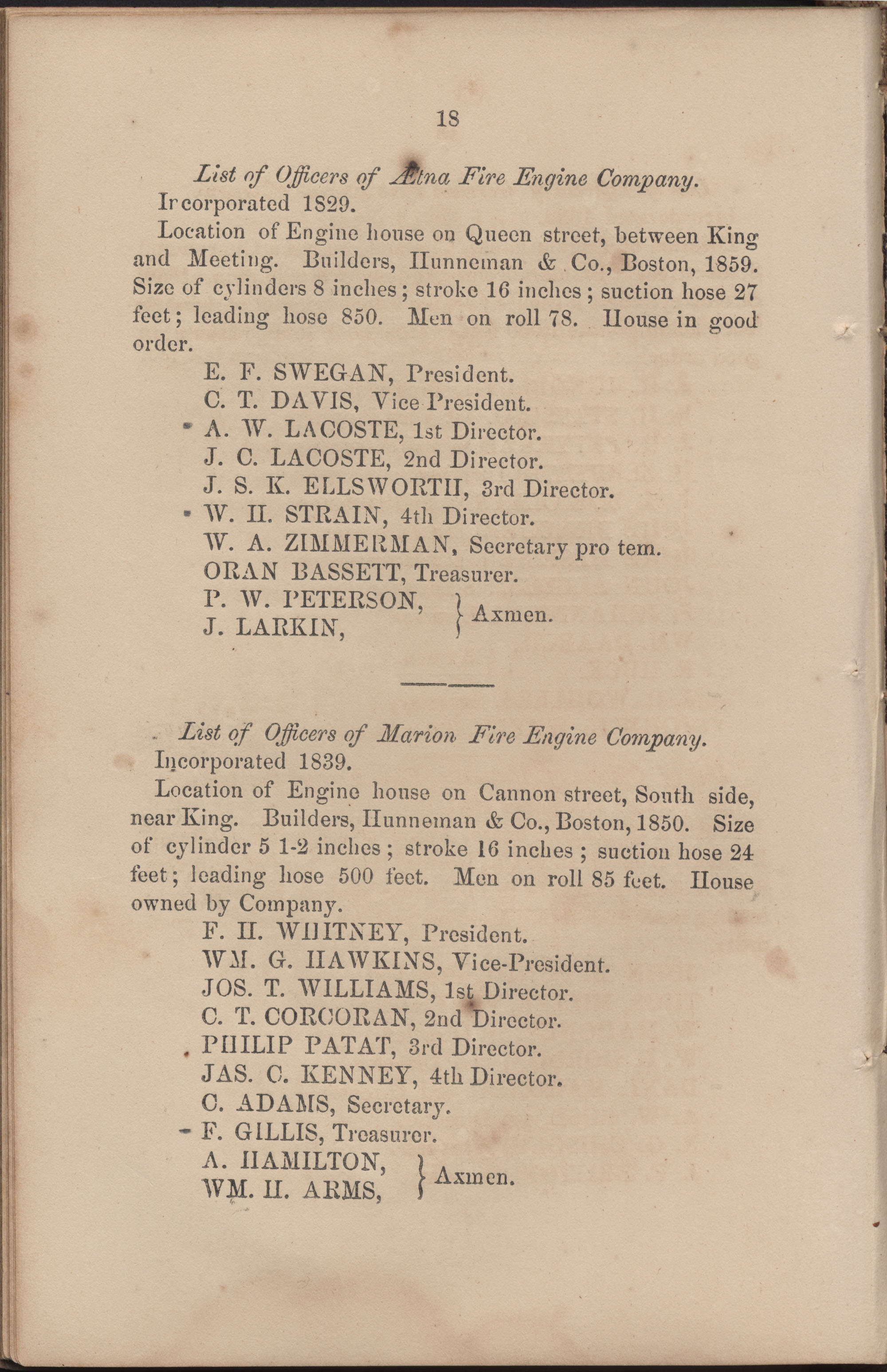 Annual Report of the Chief of the Fire Department of the City of Charleston, page 79