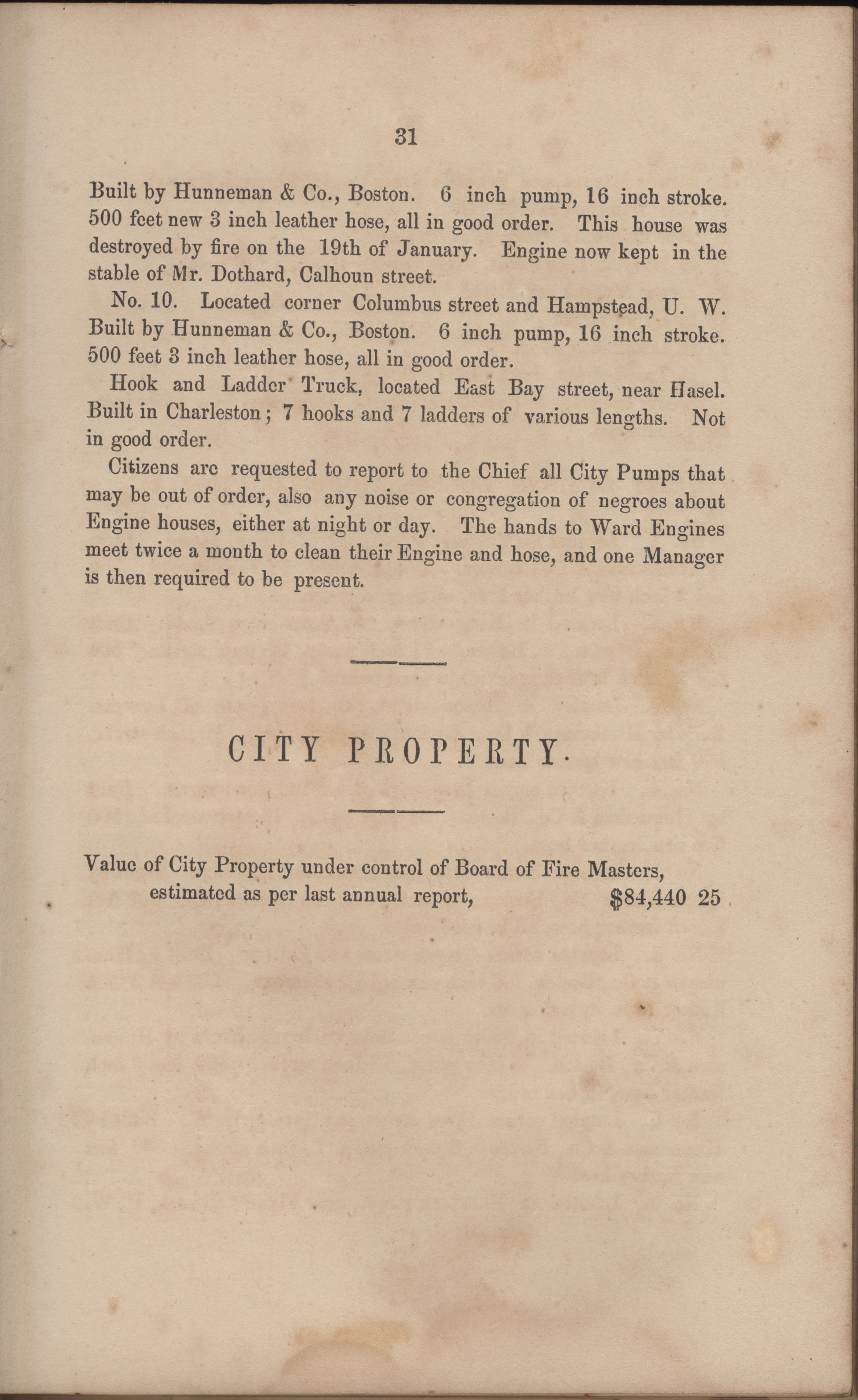 Annual Report of the Chief of the Fire Department of the City of Charleston, page 92
