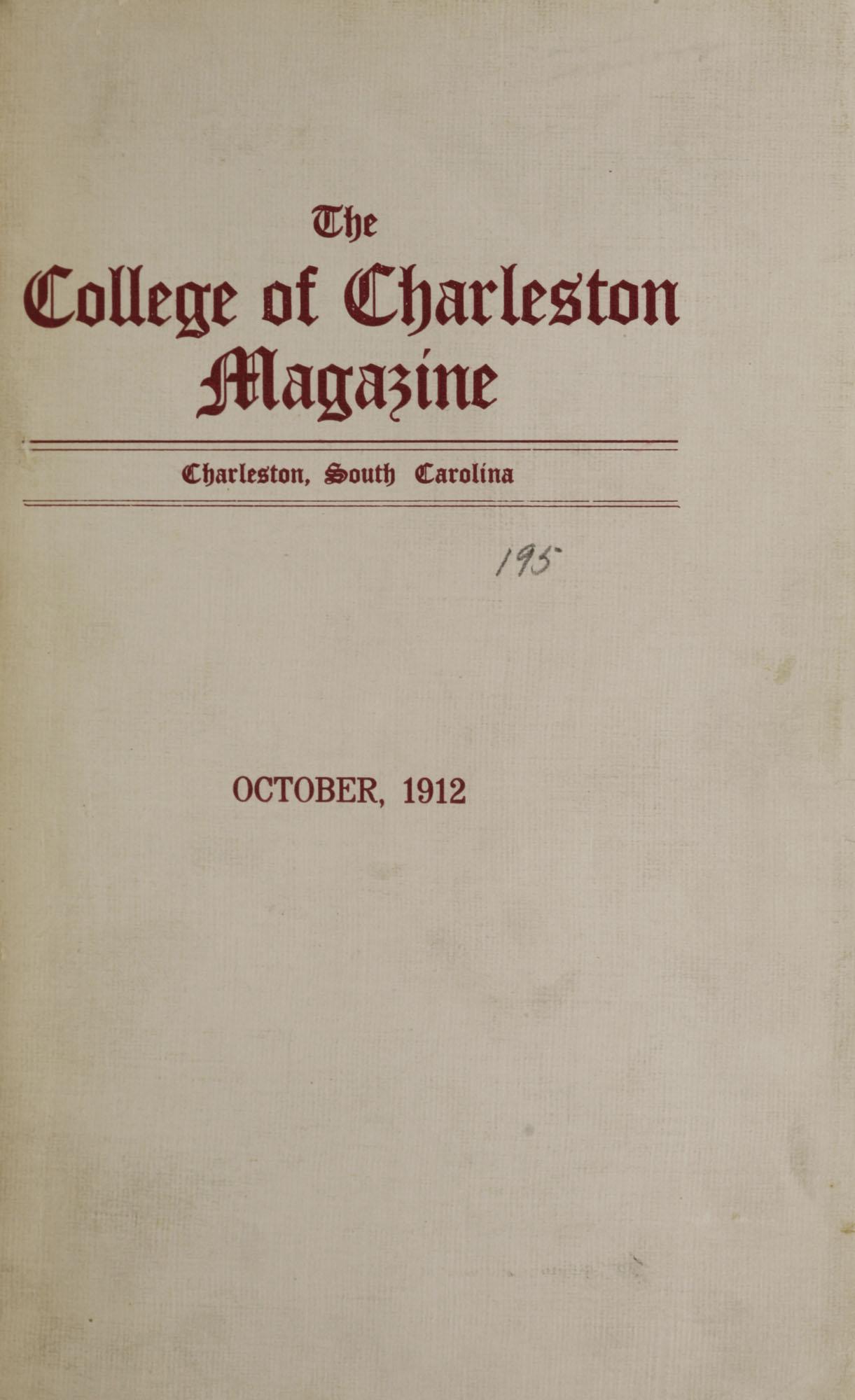 College of Charleston Magazine, 1912-1913