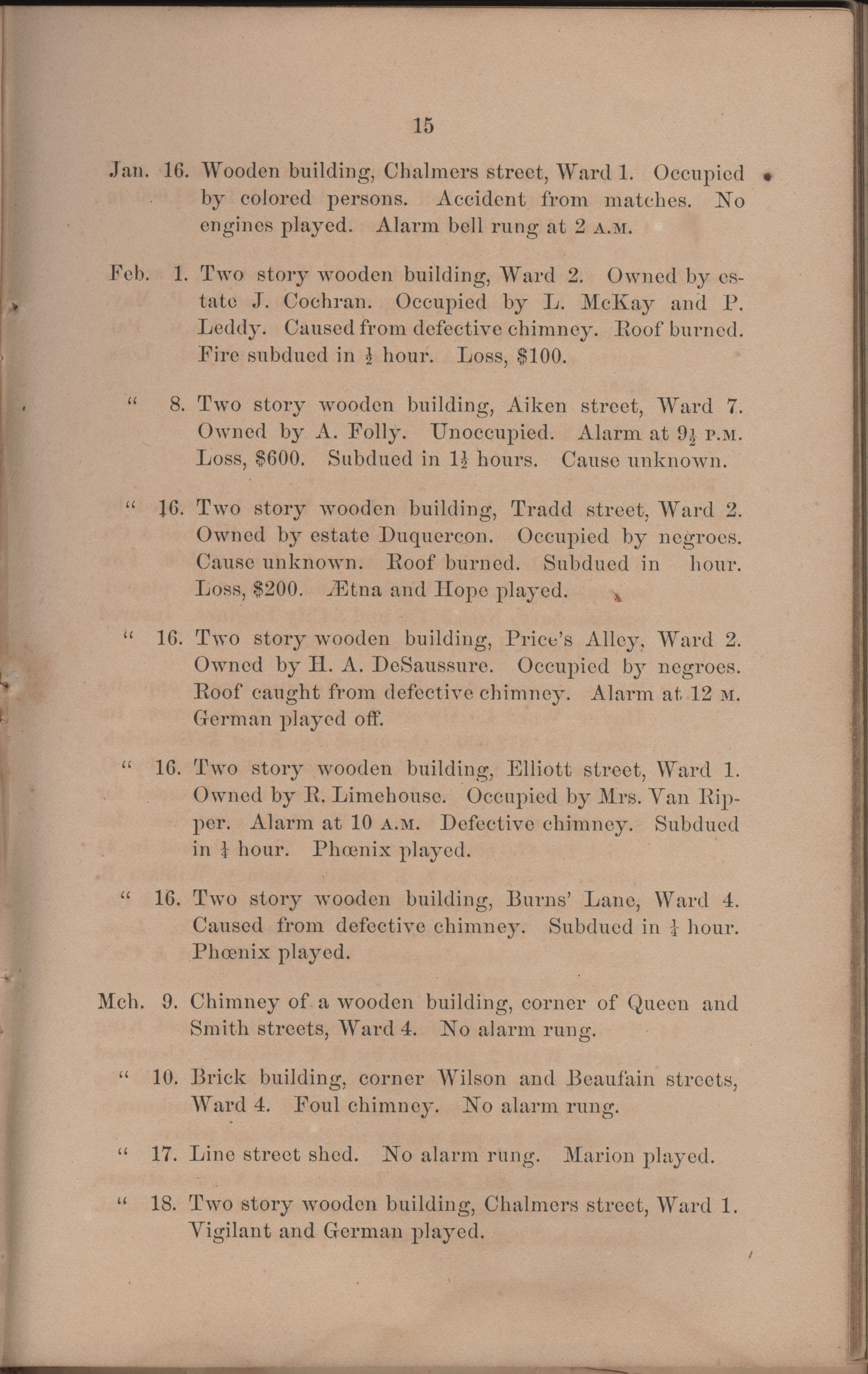 Annual Report of the Chief of the Fire Department of the City of Charleston, page 111