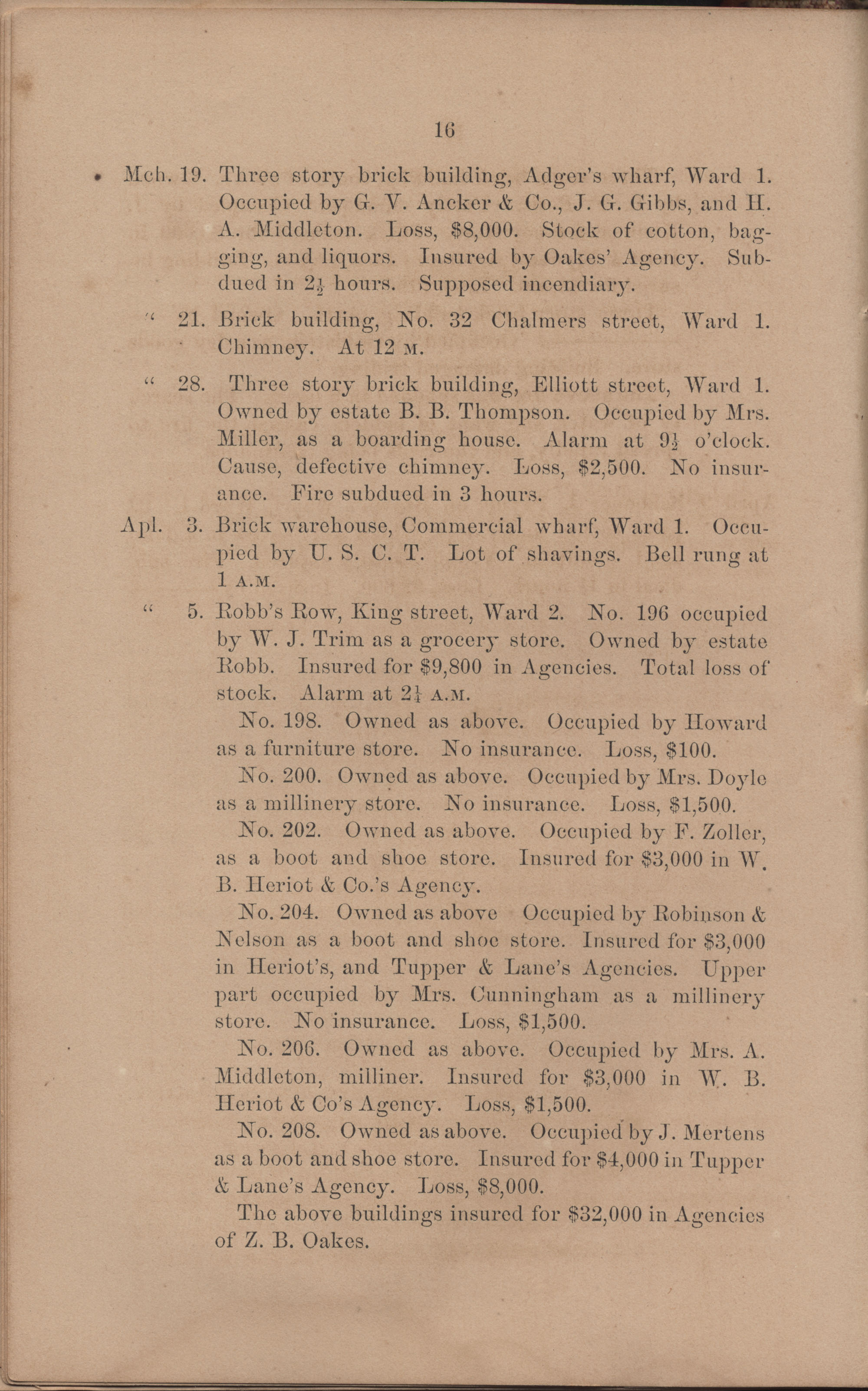Annual Report of the Chief of the Fire Department of the City of Charleston, page 112