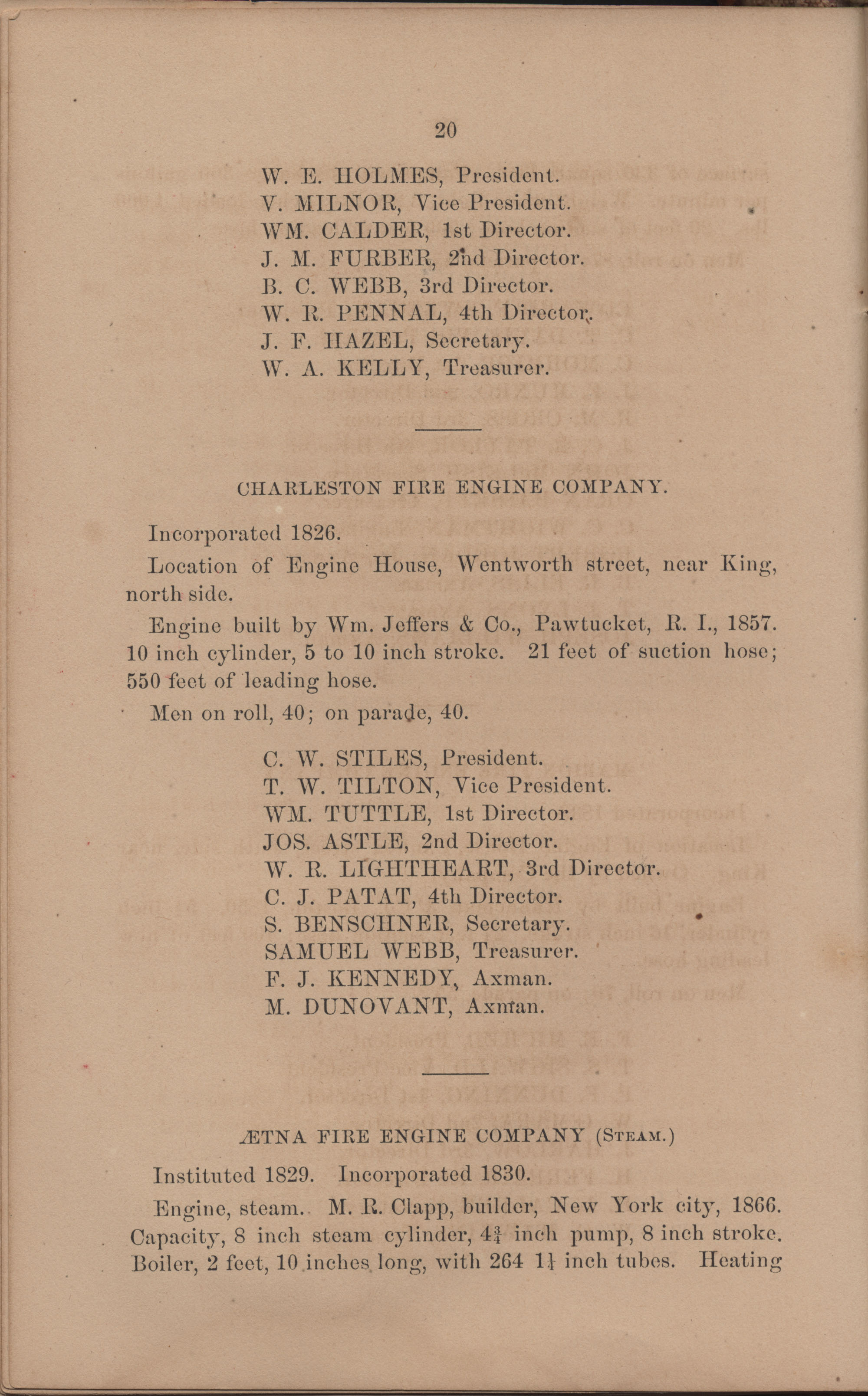 Annual Report of the Chief of the Fire Department of the City of Charleston, page 116