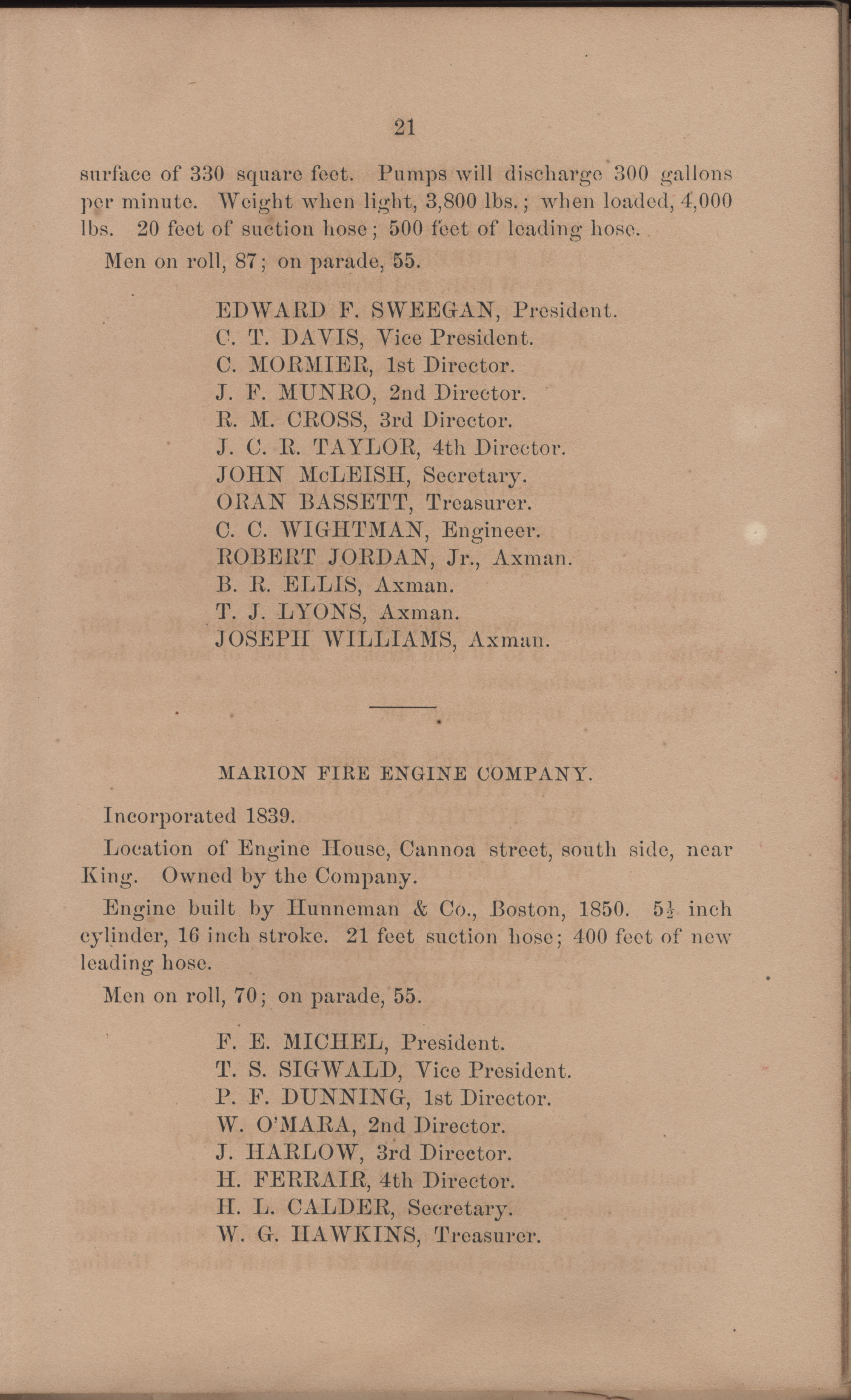 Annual Report of the Chief of the Fire Department of the City of Charleston, page 117