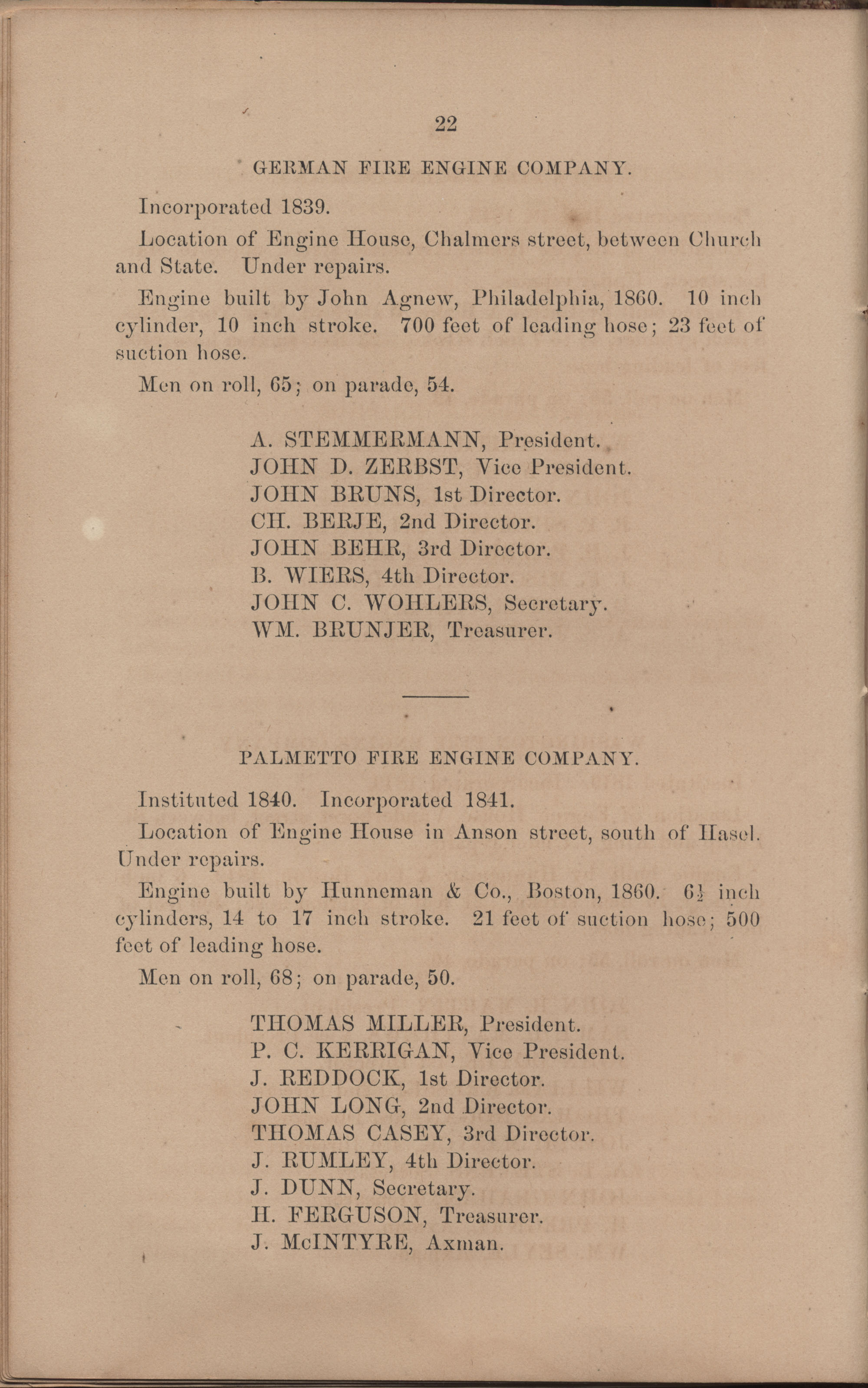 Annual Report of the Chief of the Fire Department of the City of Charleston, page 118