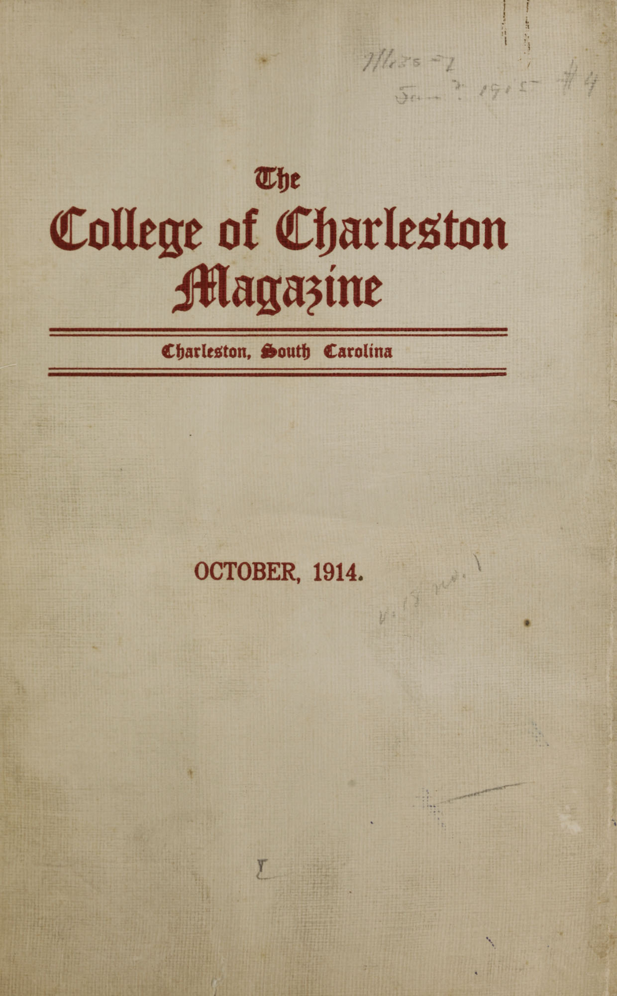 College of Charleston Magazine, 1914-1915