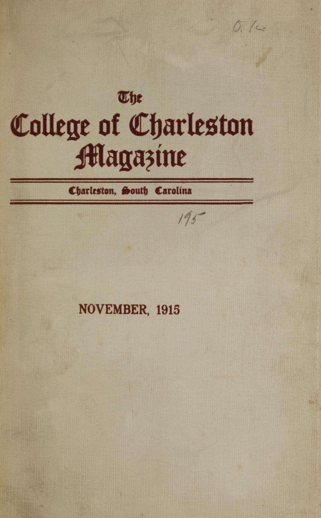 College of Charleston Magazine, 1915-1916