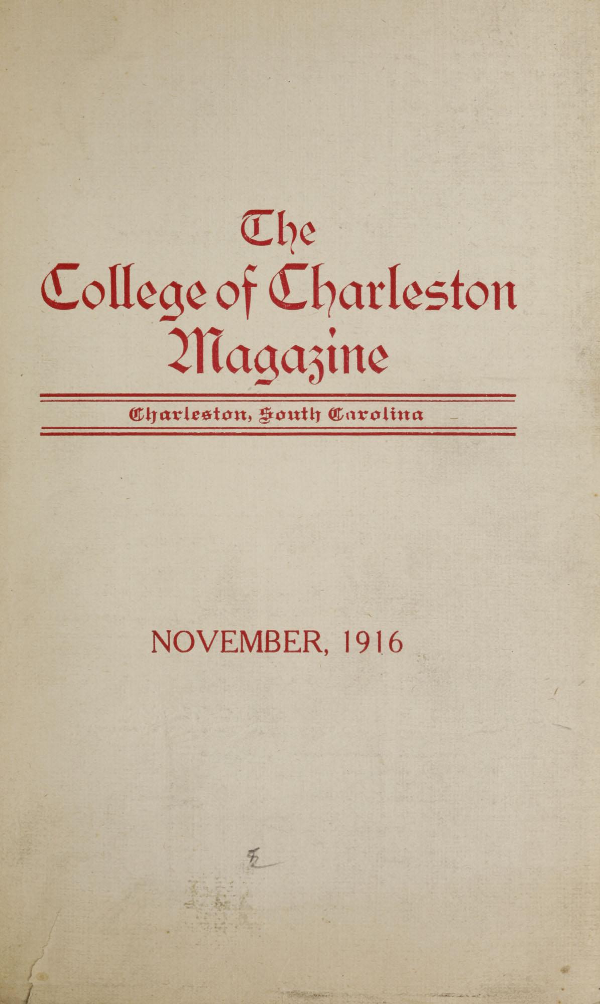 College of Charleston Magazine, 1916-1917