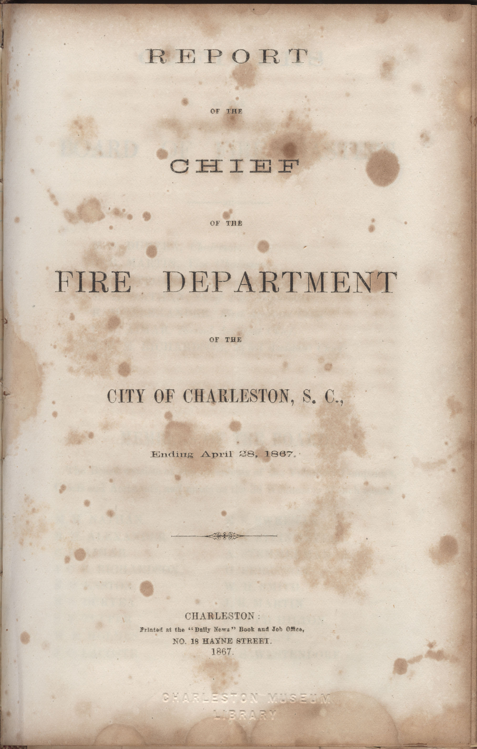 Annual Report of the Chief of the Fire Department of the City of Charleston, page 145