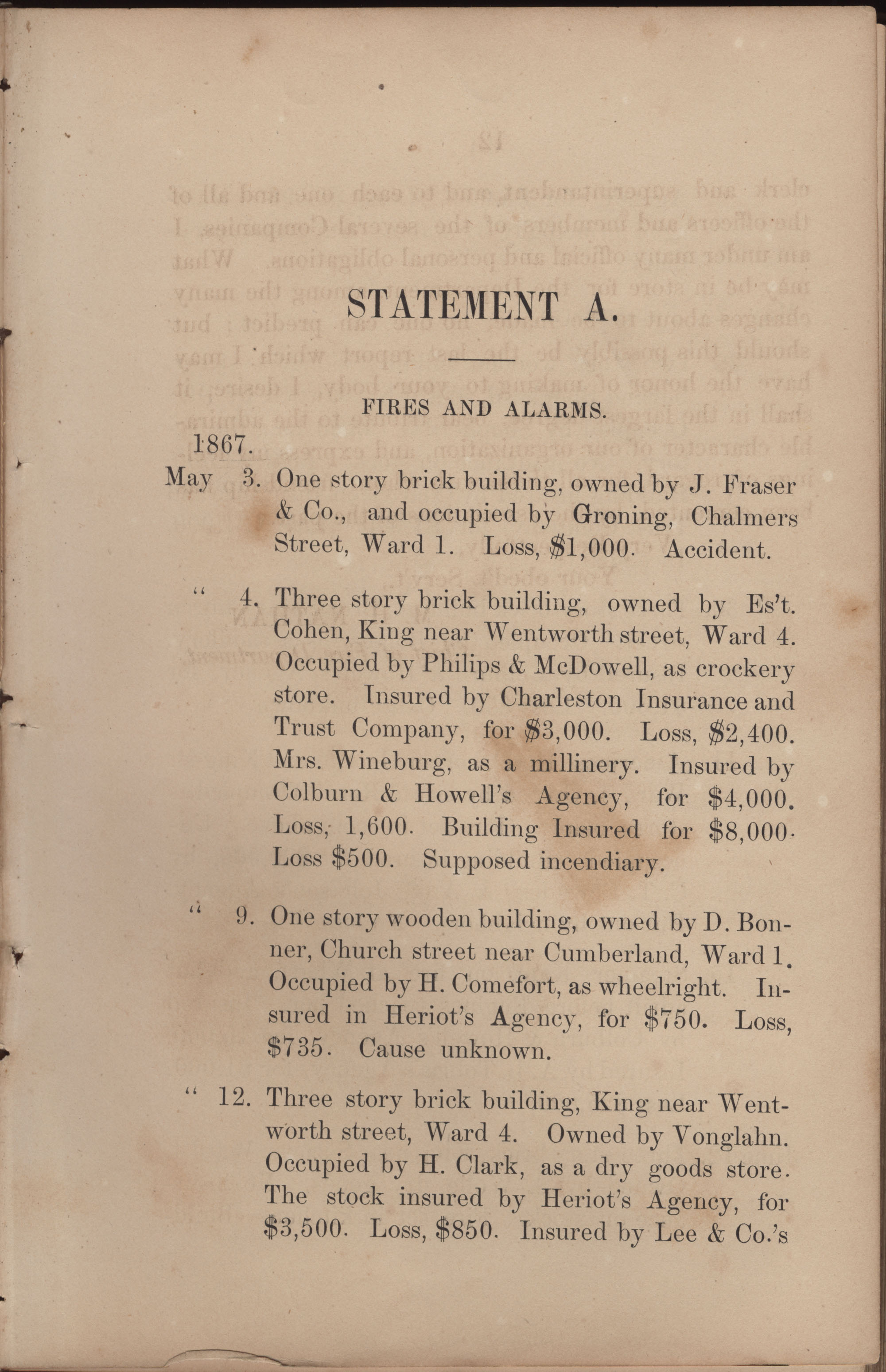 Annual Report of the Chief of the Fire Department of the City of Charleston, page 191