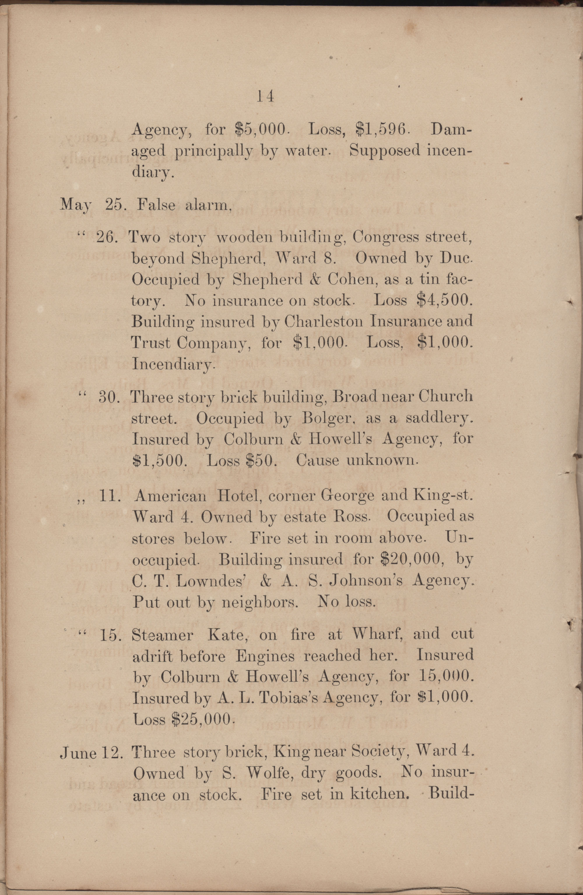 Annual Report of the Chief of the Fire Department of the City of Charleston, page 192