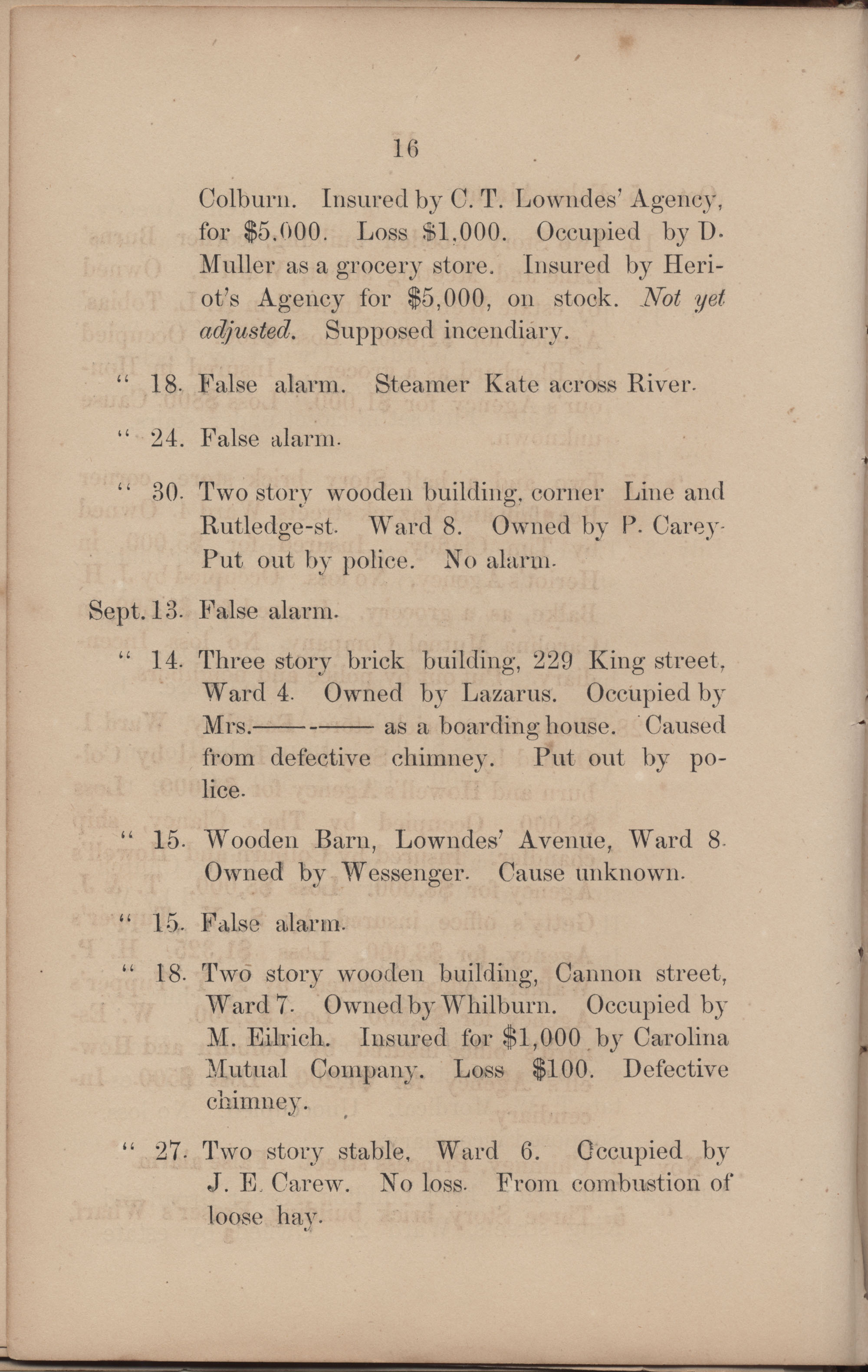Annual Report of the Chief of the Fire Department of the City of Charleston, page 194