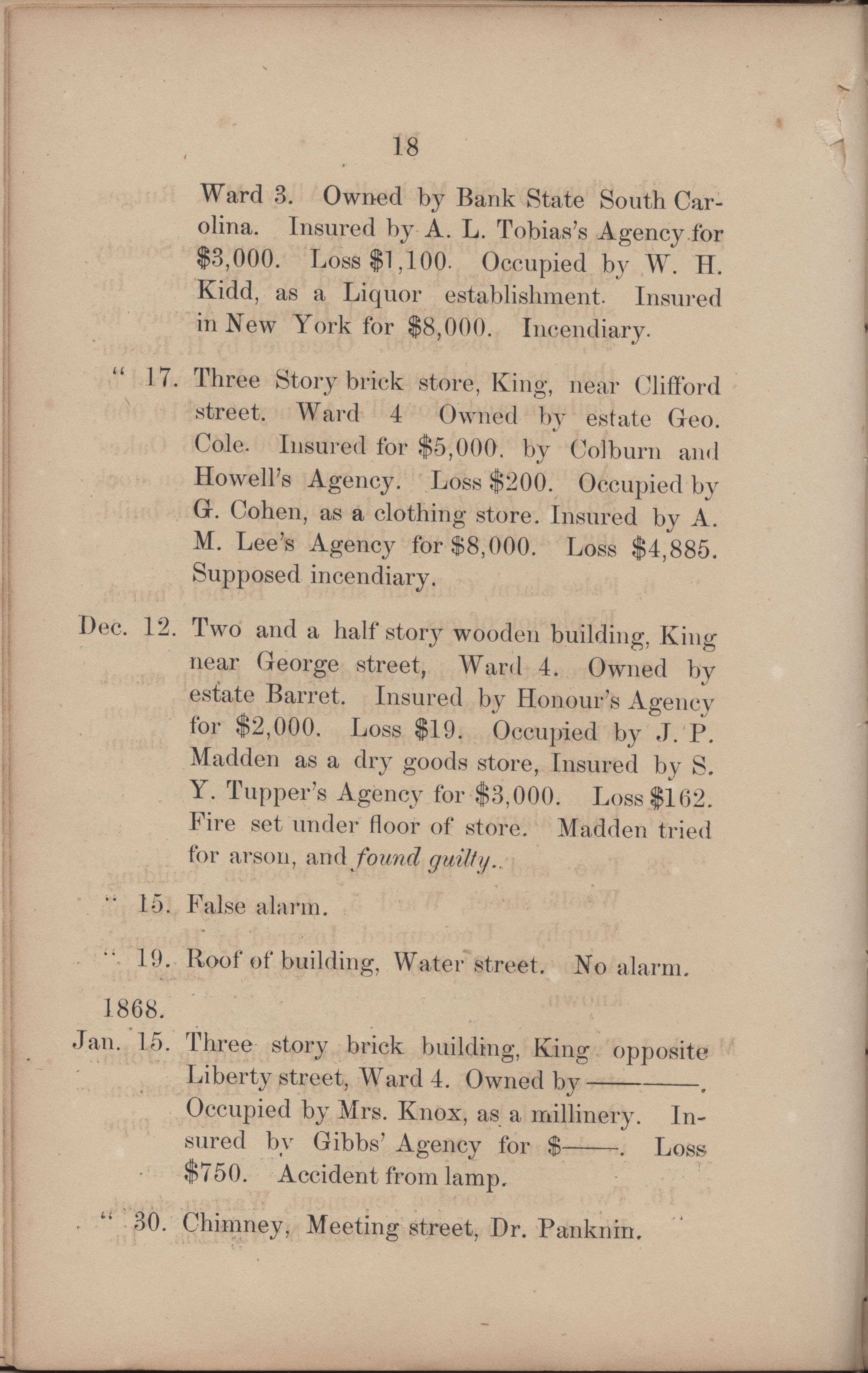 Annual Report of the Chief of the Fire Department of the City of Charleston, page 196