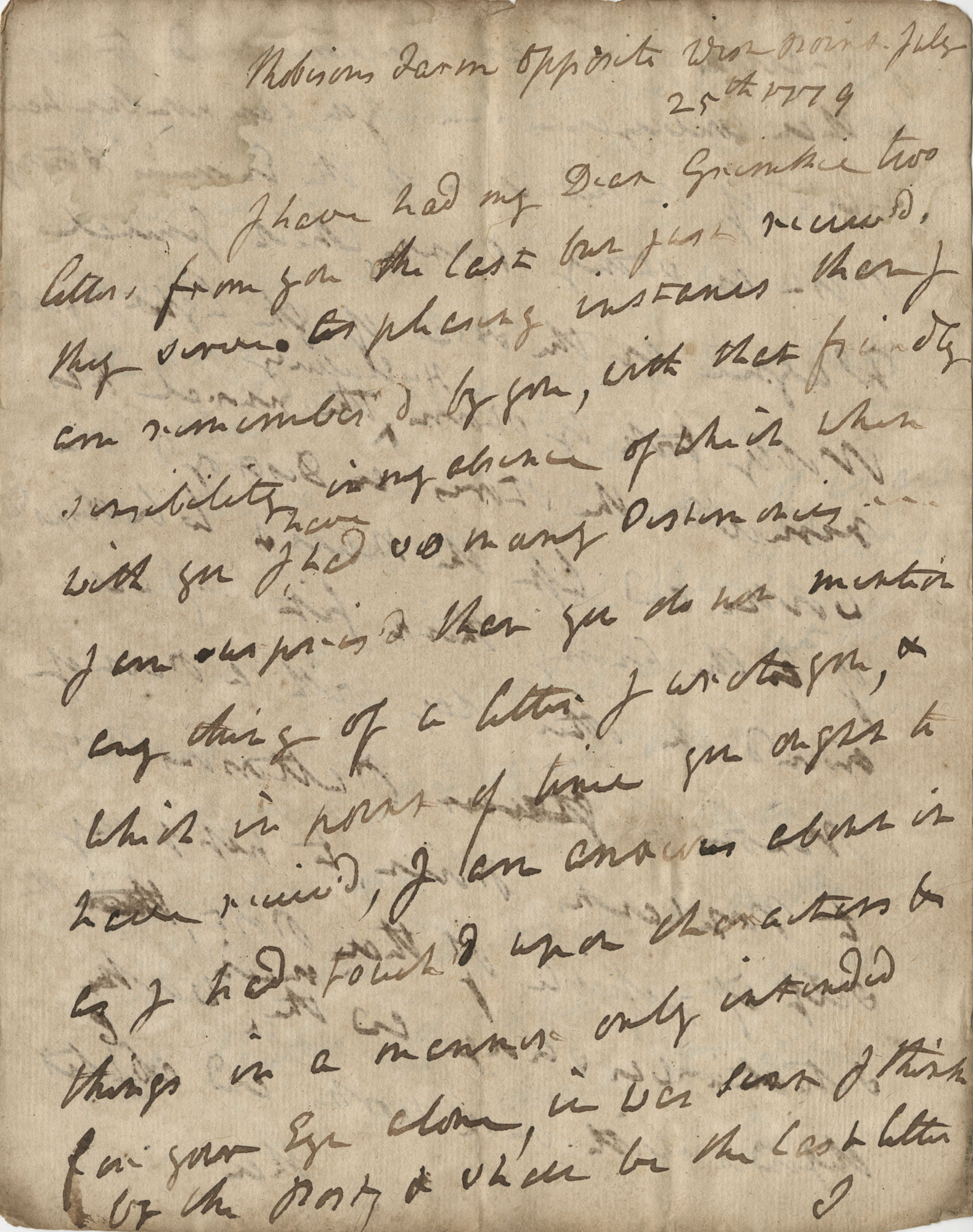 Letter from General Robert Howe to John F. Grimke, July 25, 1779