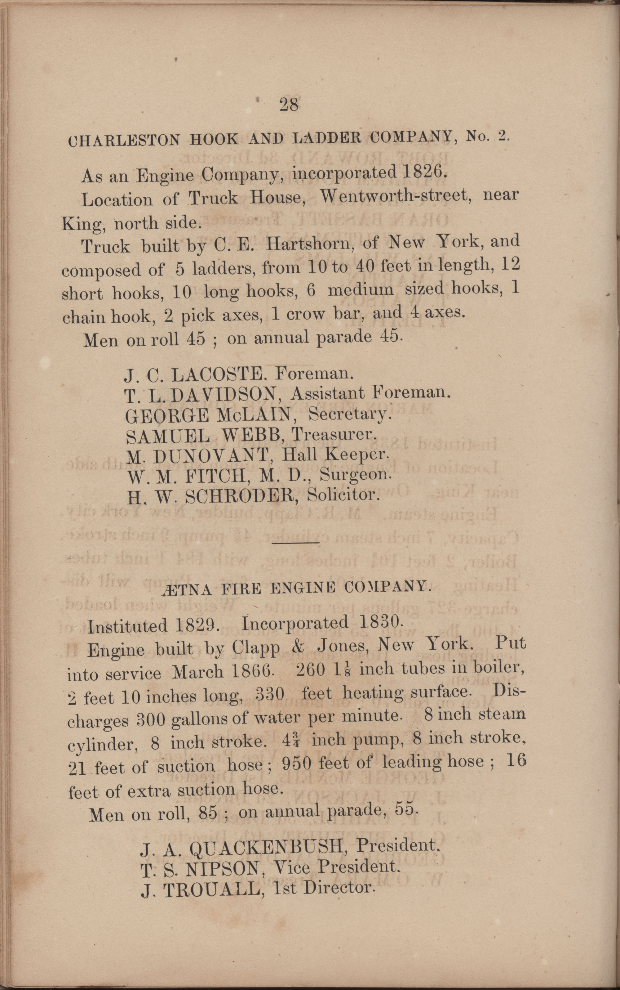 Annual Report of the Chief of the Fire Department of the City of Charleston, page 206