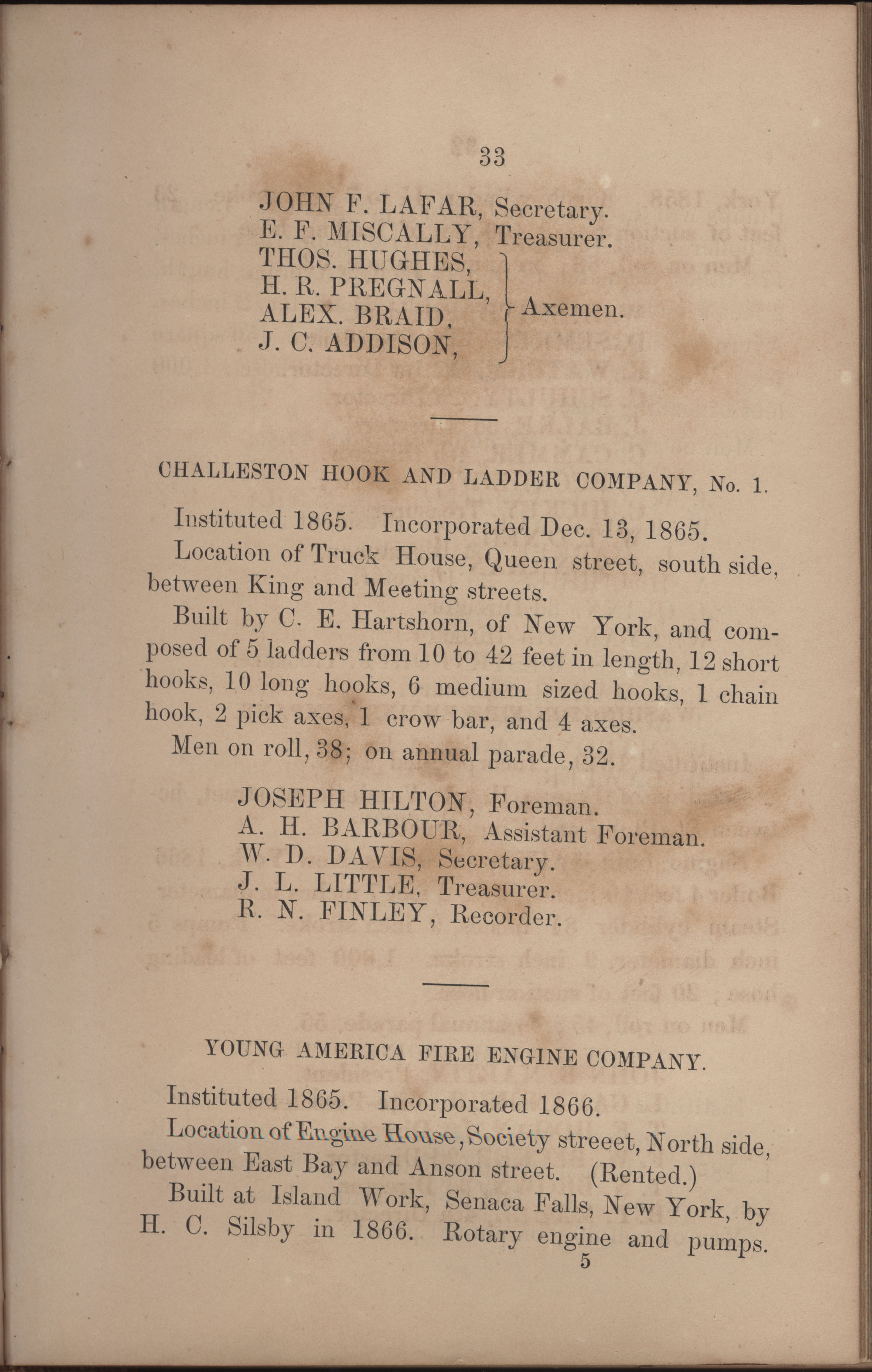 Annual Report of the Chief of the Fire Department of the City of Charleston, page 211