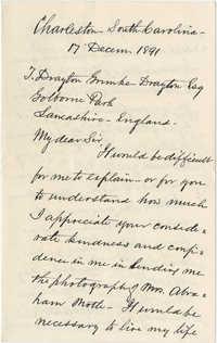 Letter from W. Alston Pringle to J. Drayton Grimke-Drayton, December 17, 1891
