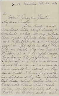 Letter to J. Drayton Grimke from unnamed cousin