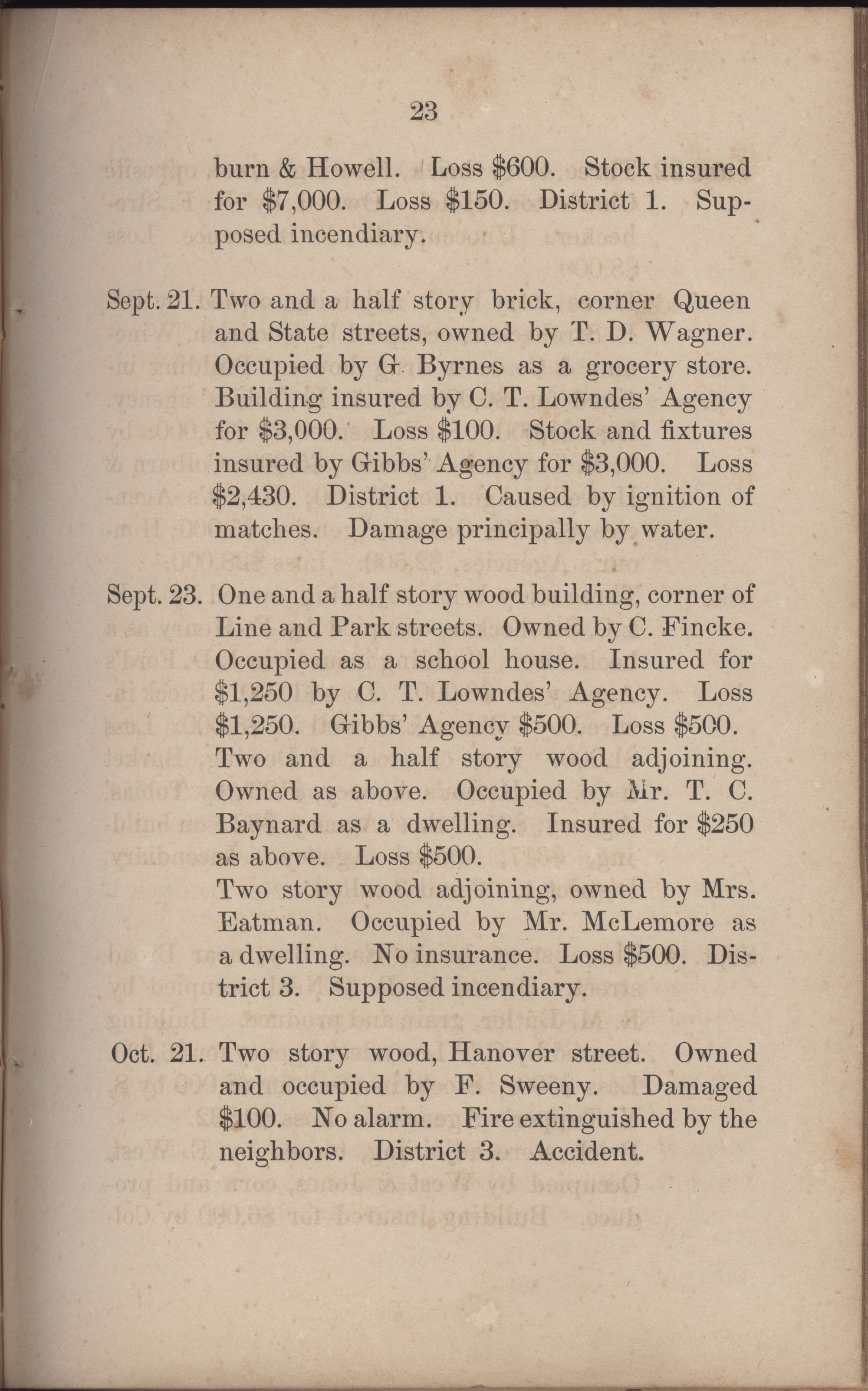 Annual Report of the Chief of the Fire Department of the City of Charleston, page 250