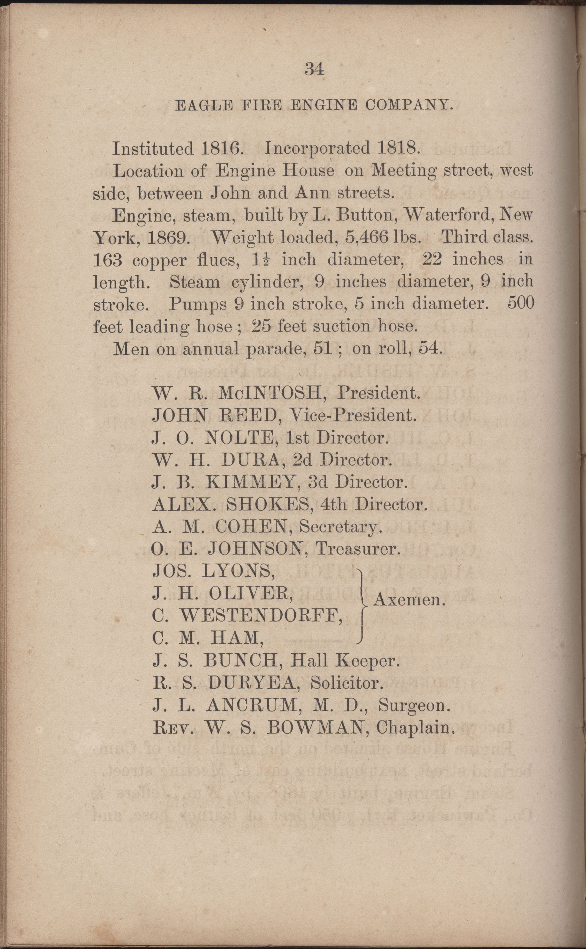 Annual Report of the Chief of the Fire Department of the City of Charleston, page 261