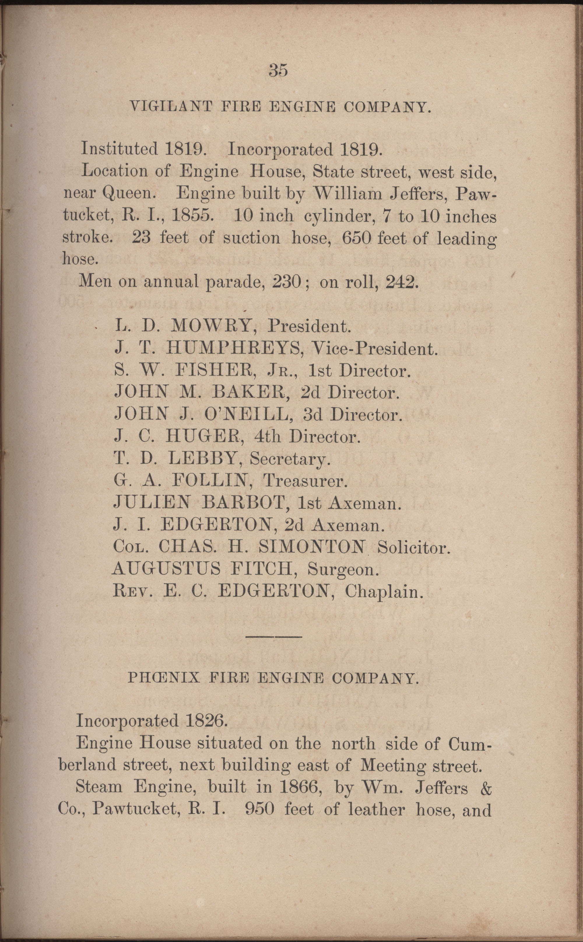 Annual Report of the Chief of the Fire Department of the City of Charleston, page 262
