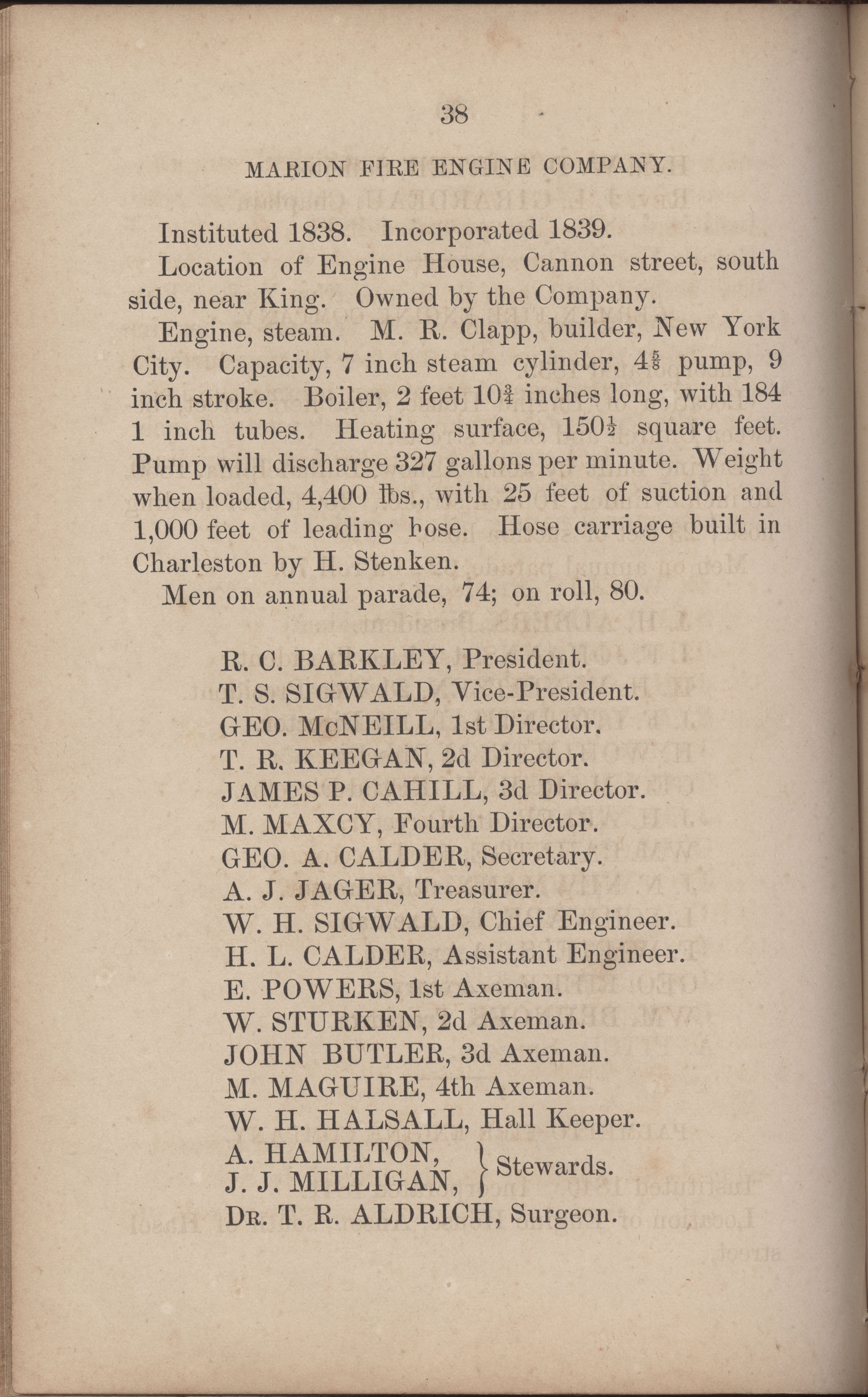 Annual Report of the Chief of the Fire Department of the City of Charleston, page 265