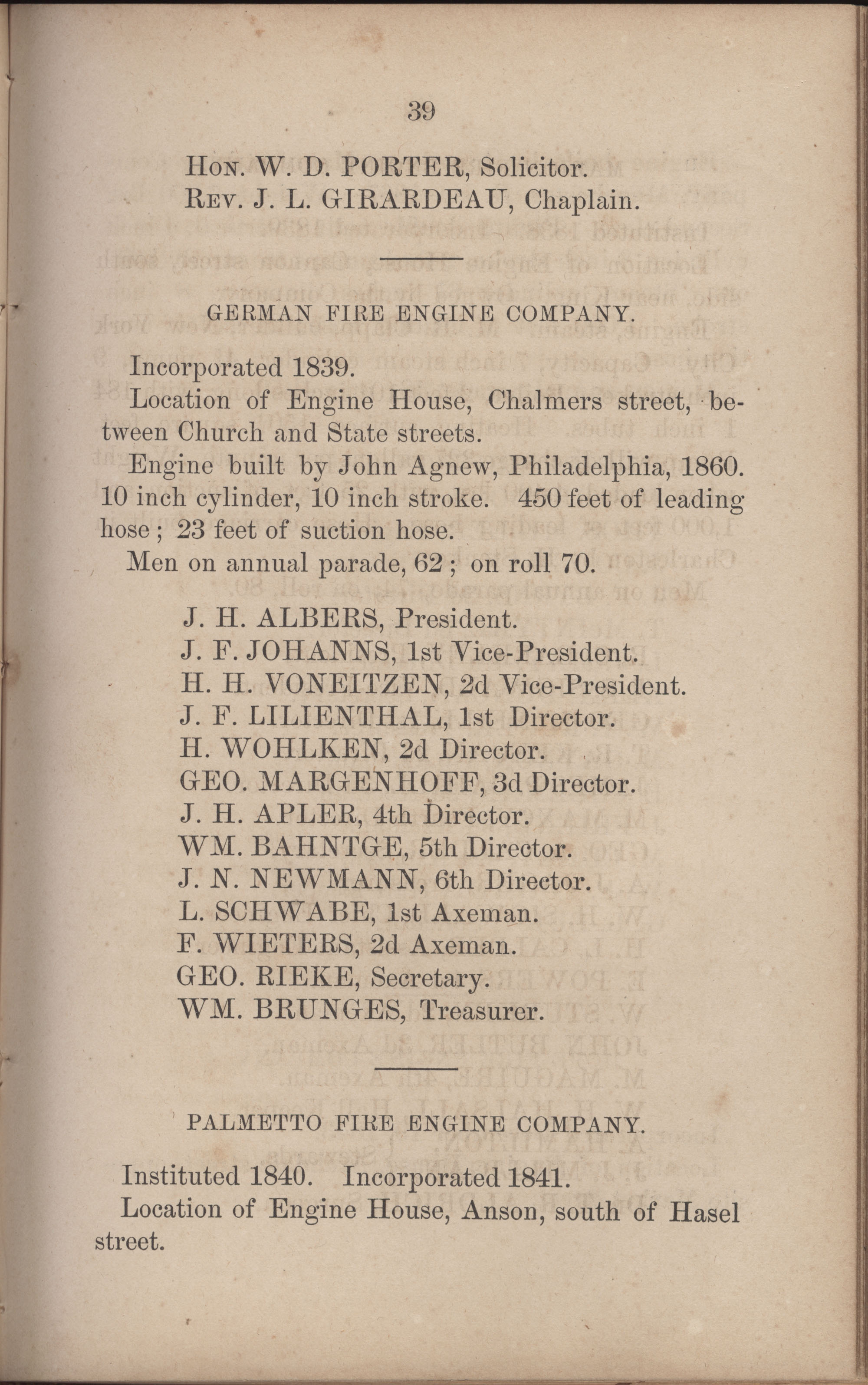 Annual Report of the Chief of the Fire Department of the City of Charleston, page 266
