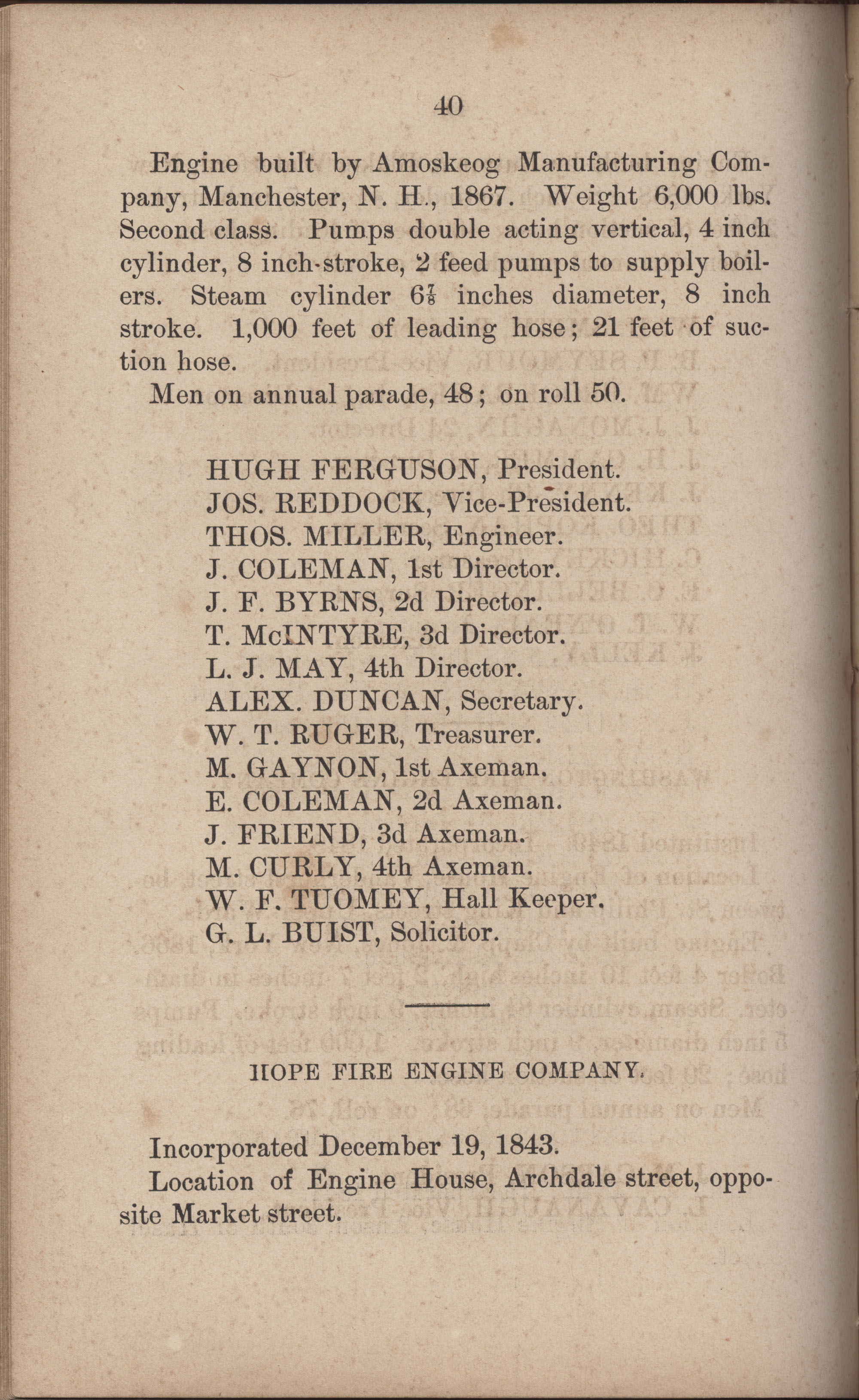 Annual Report of the Chief of the Fire Department of the City of Charleston, page 267