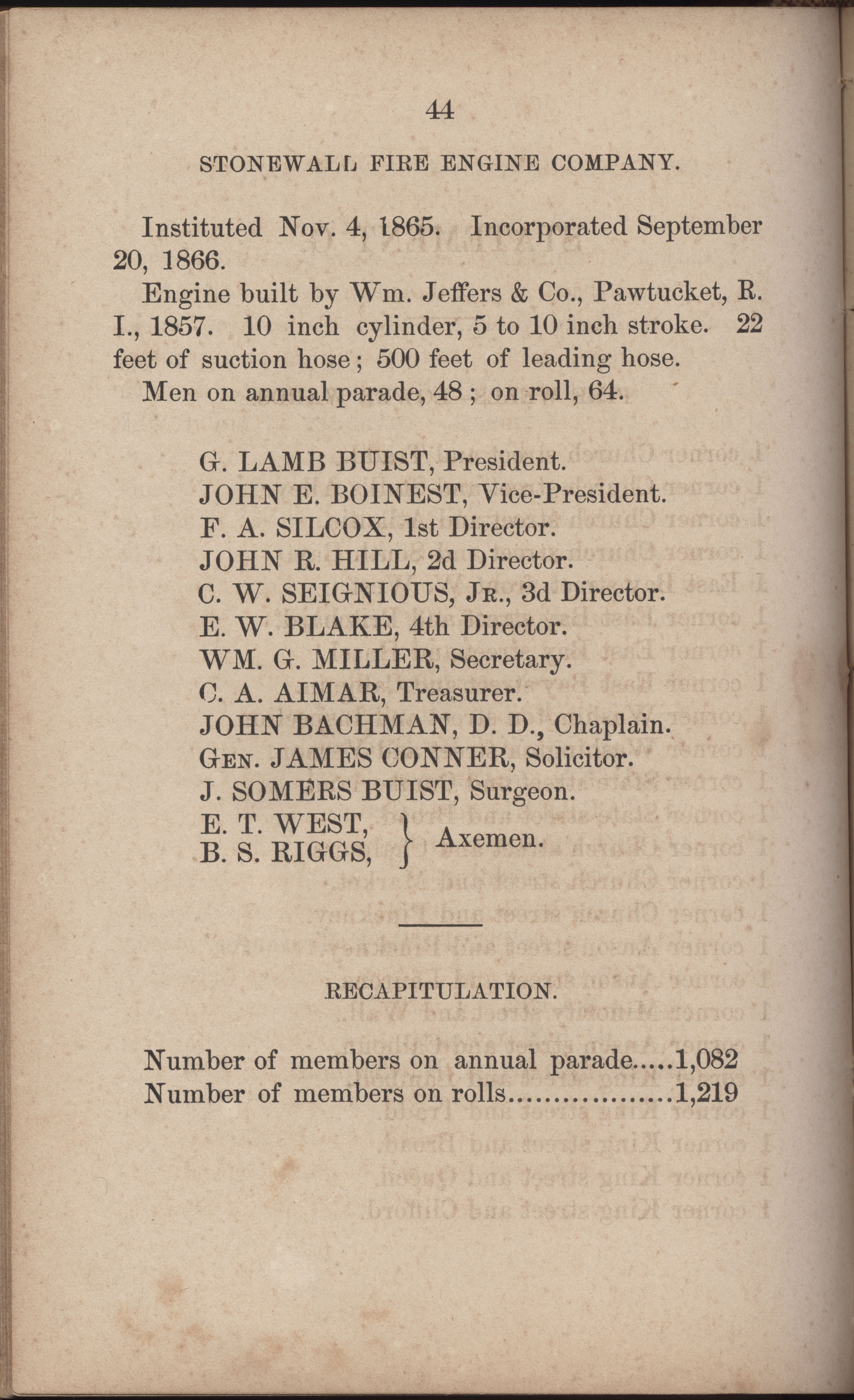 Annual Report of the Chief of the Fire Department of the City of Charleston, page 271