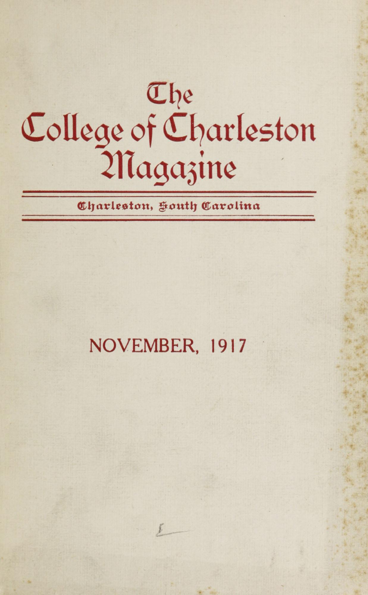 College of Charleston Magazine, 1917-1918