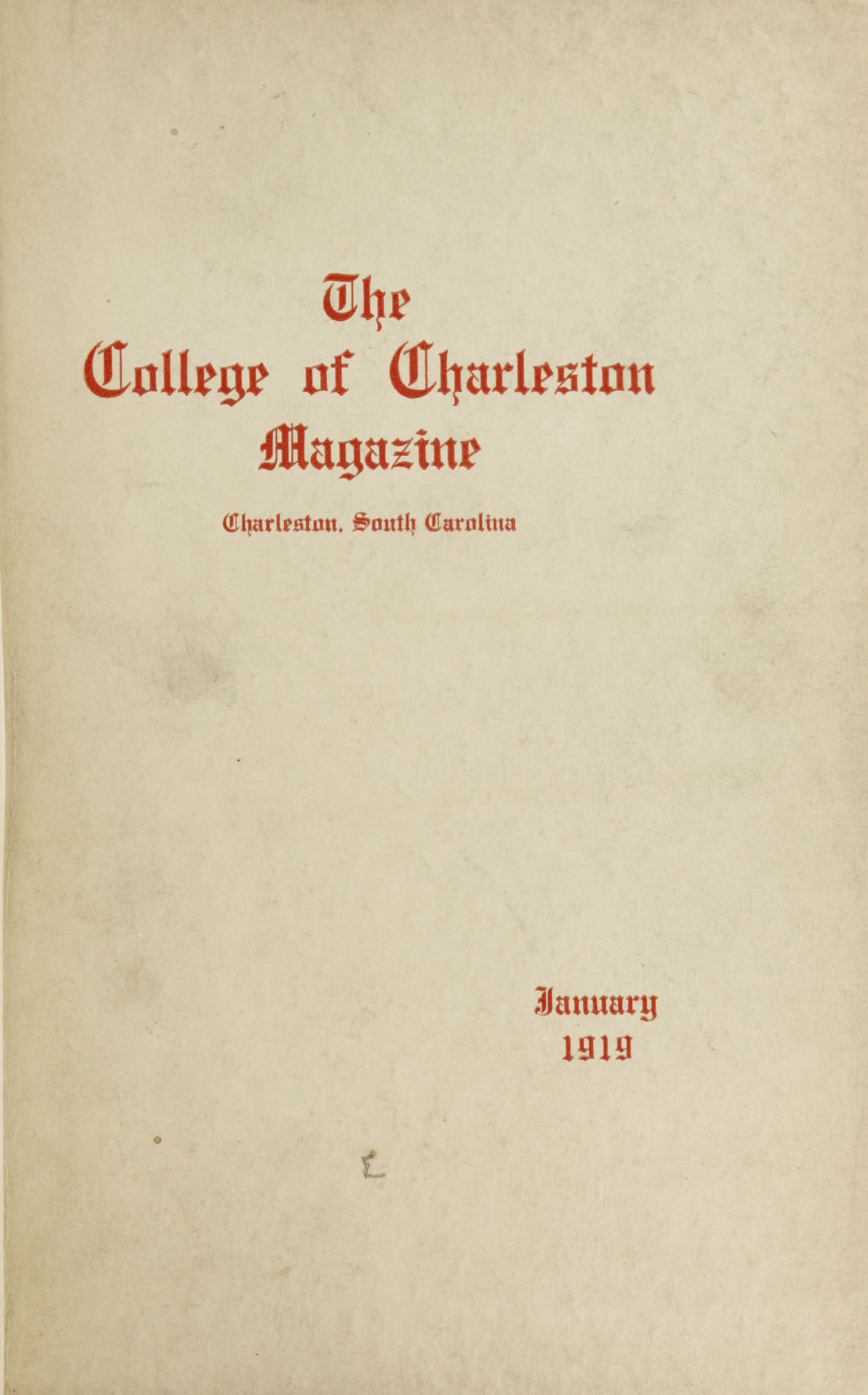 College of Charleston Magazine, 1919