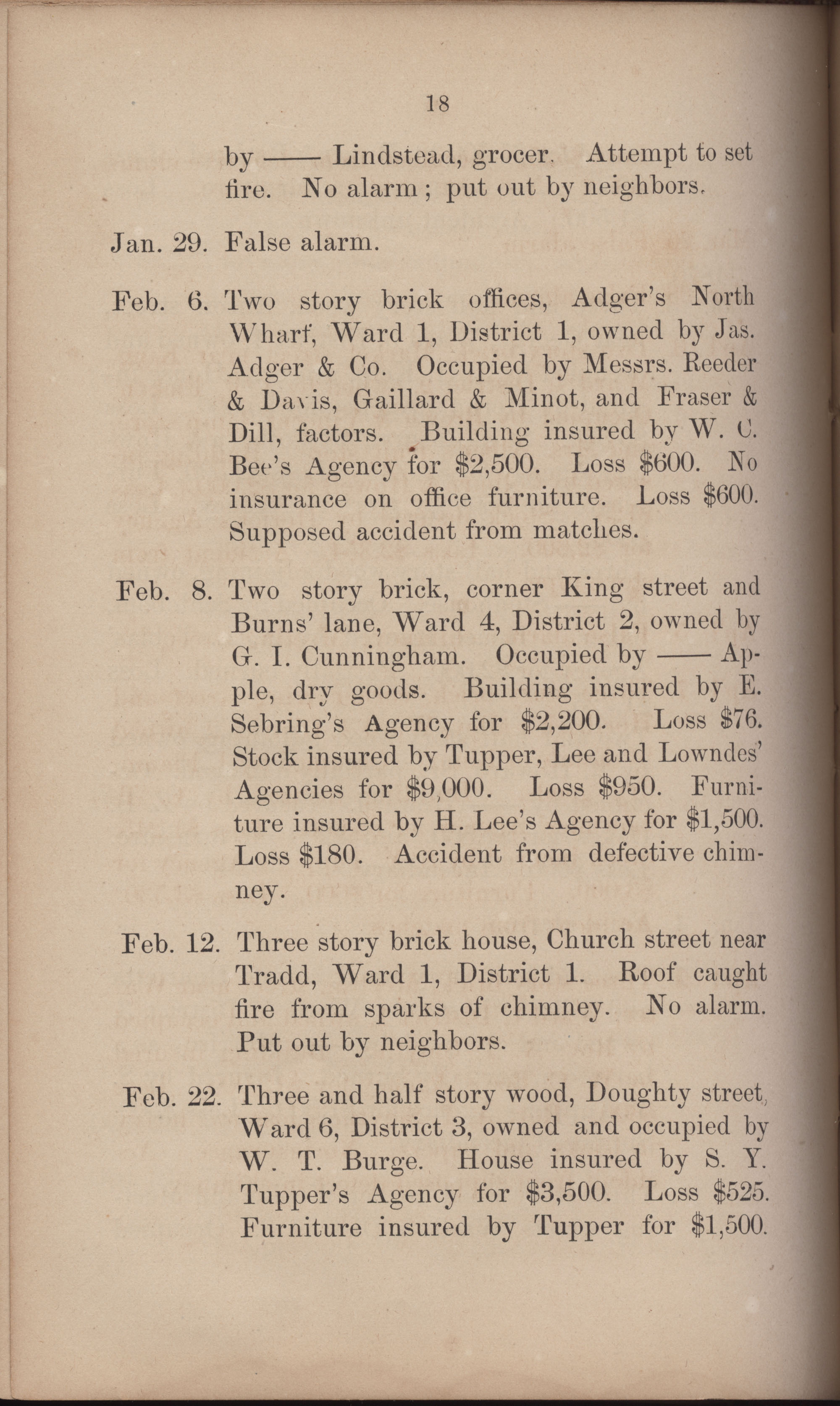 Annual Report of the Chief of the Fire Department of the City of Charleston, page 309