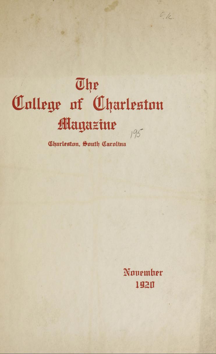 College of Charleston Magazine, 1920-1921
