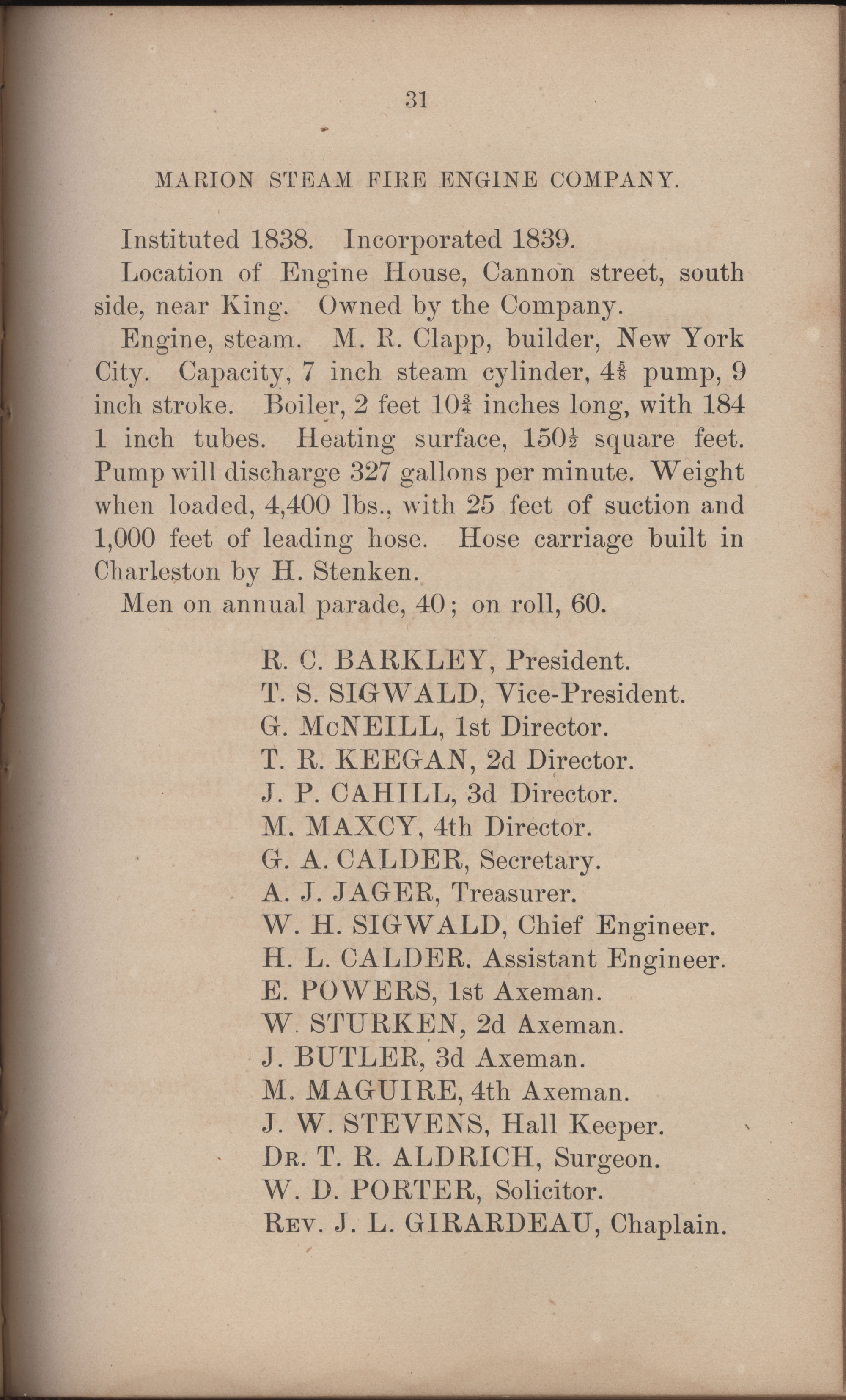 Annual Report of the Chief of the Fire Department of the City of Charleston, page 322