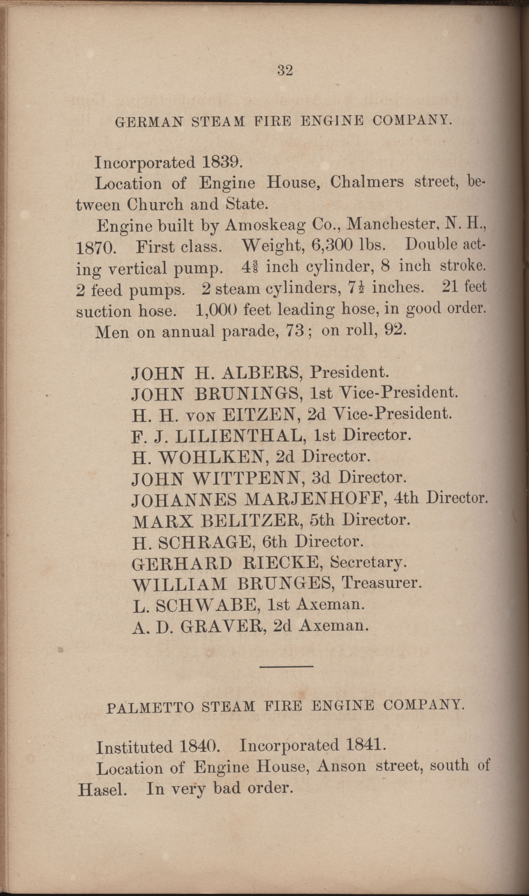 Annual Report of the Chief of the Fire Department of the City of Charleston, page 323