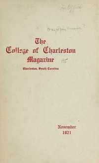 College of Charleston Magazine, 1921-1922