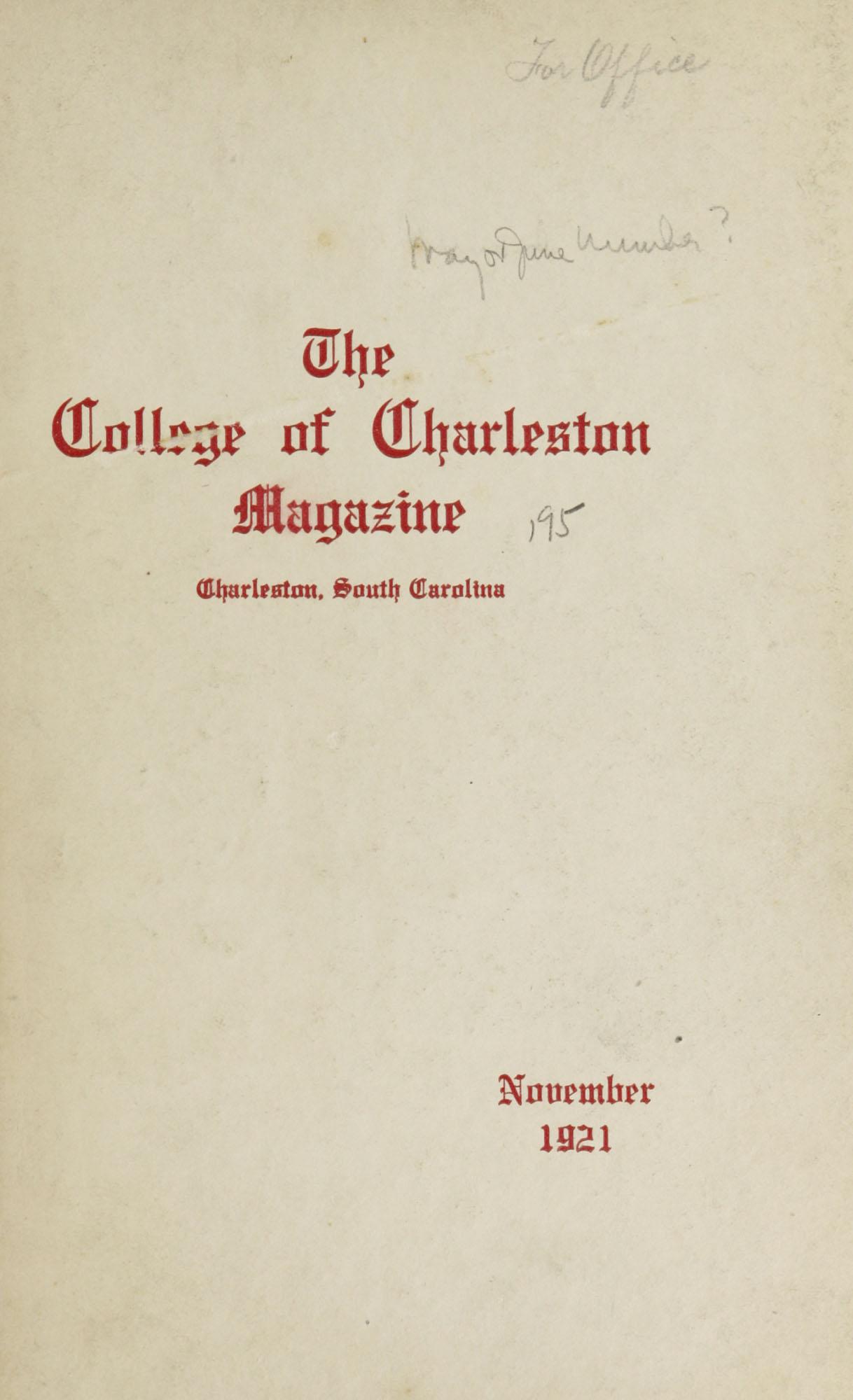 College of Charleston Magazine, 1921-1922