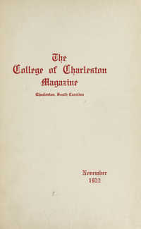 College of Charleston Magazine, 1922-1923