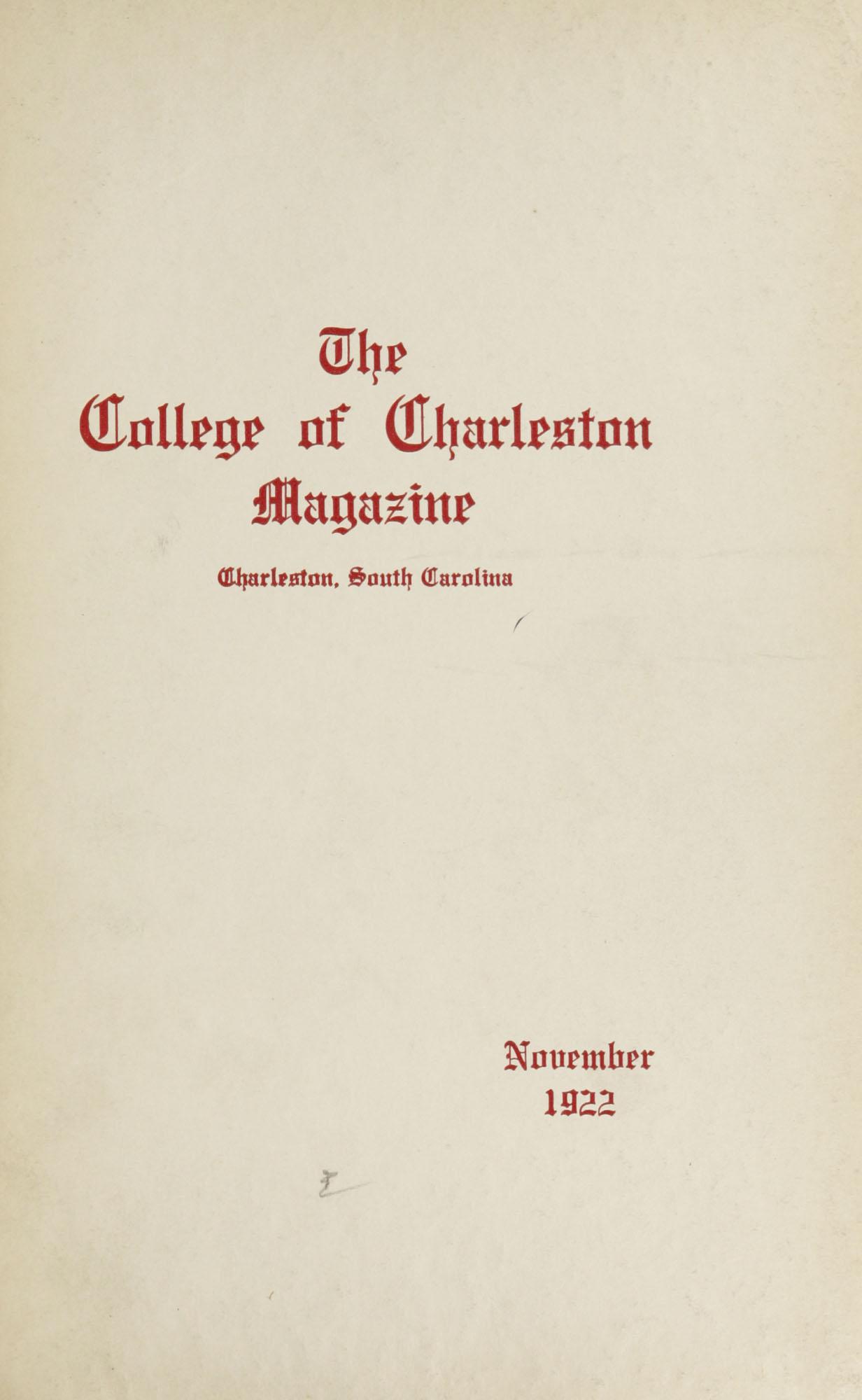 College of Charleston Magazine, 1922-1923