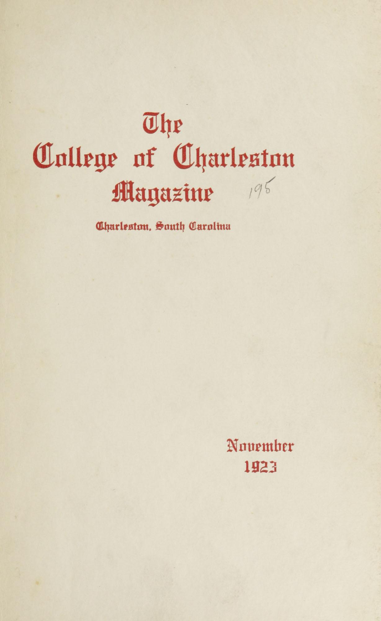 College of Charleston Magazine, 1923-1924