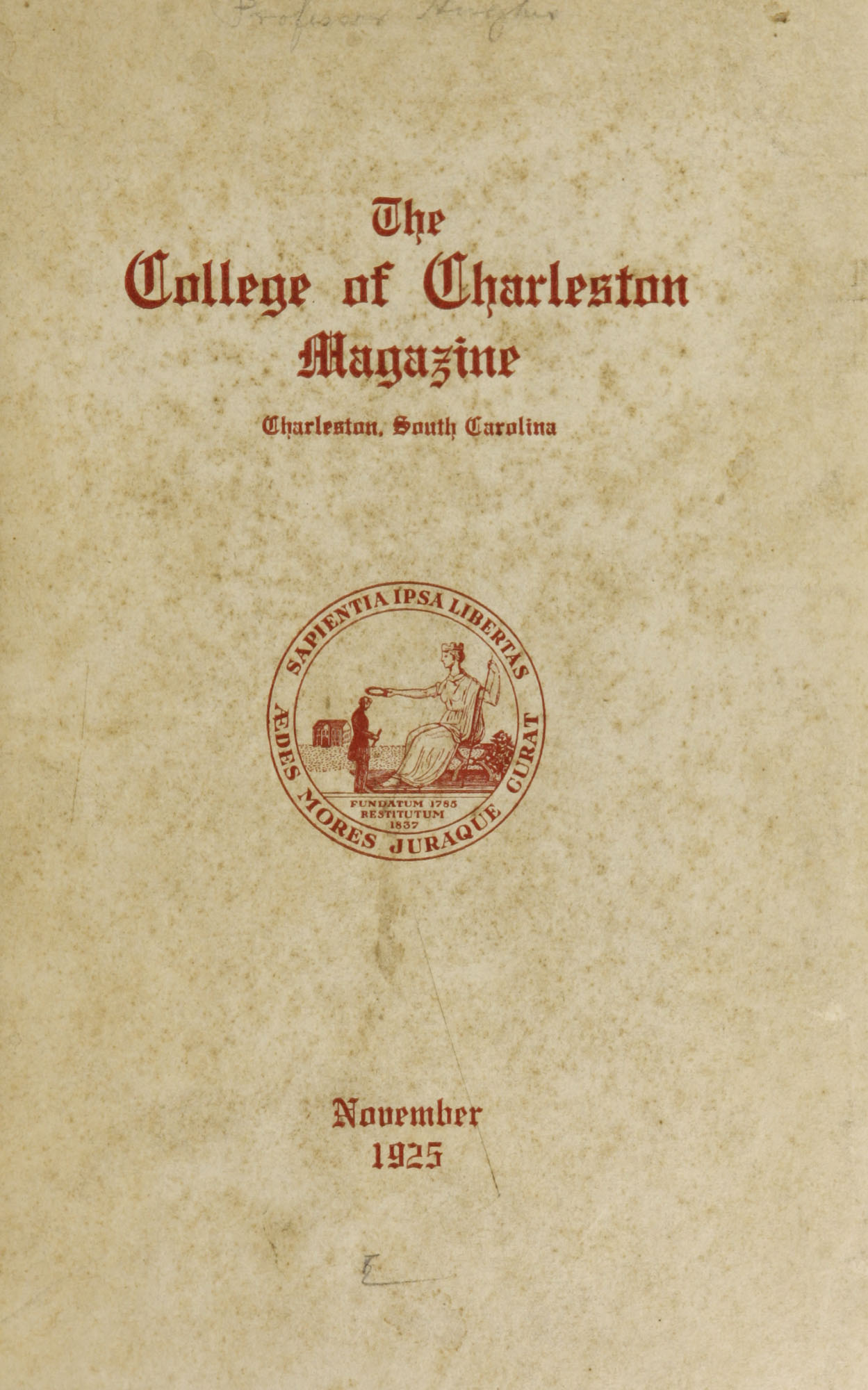 College of Charleston Magazine, 1925-1926
