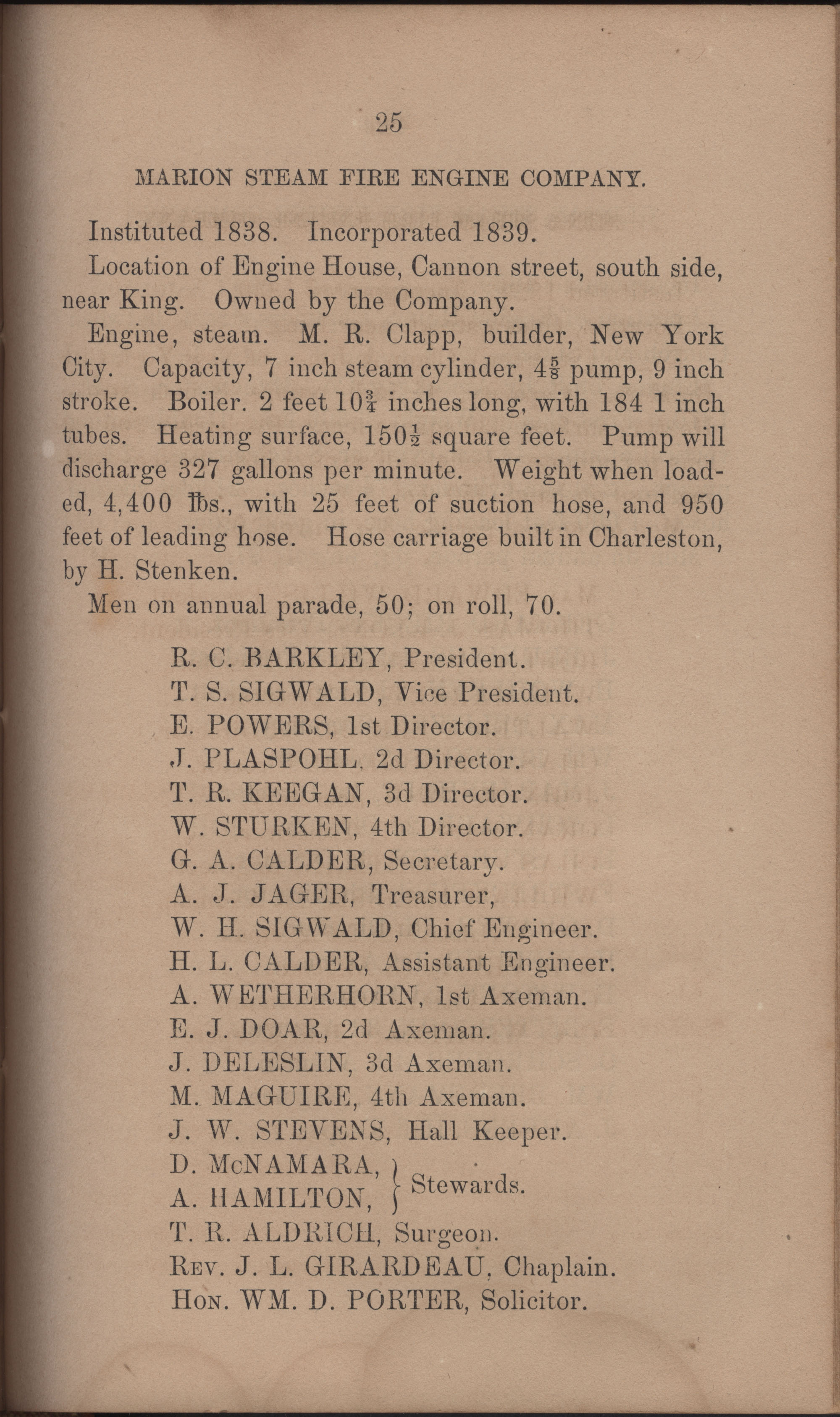 Annual Report of the Chief of the Fire Department of the City of Charleston, page 372