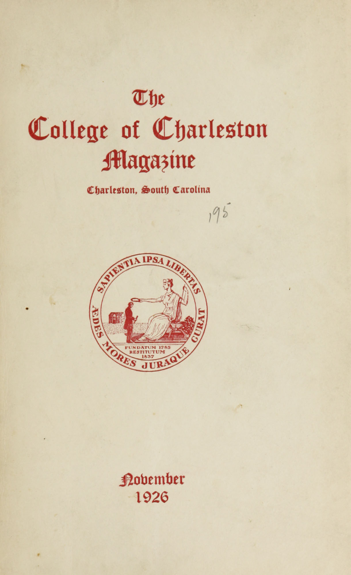 College of Charleston Magazine, 1926-1927